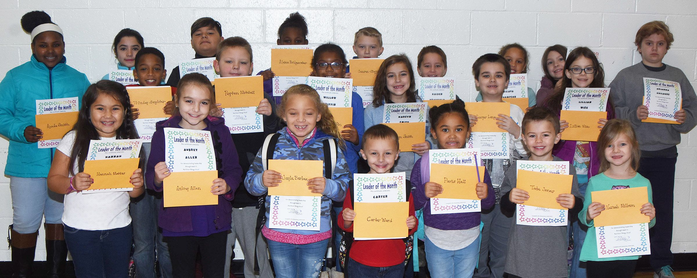 From left, front, are second-graders Hannah Matias and Aubrey Allen, kindergartener Jayla Barbee, first-grader Carter Ward and kindergarteners Paris Washington-Hall, Tate Jones and Nevaeh Milburn. Second row, fifth-grader TiOnday Slaughter, fourth-grader Peyton Mitchell, third-graders Willow Griffin, Karsyn Smith and Sawyer Lange and fourth-grader Lilly Wise. Back, fourth-grader Ajada Smith, fifth-graders Eva Bledsoe and Brayden Paiz, first-grader Alaina Bridgewater, fourth-grader Camren Skaggs, second-grader Kaiden Bradfield, third-grader Keiava Thompson, second-grader Melody Ward and fifth-grader Arianna Childers. Absent from the photo are kindergarteners Gianni Gribbins and Amarya Penn-Thompson, first-graders Jacob Parrish and Kingston Cowherd and fifth-grader Kiera Bailey.
