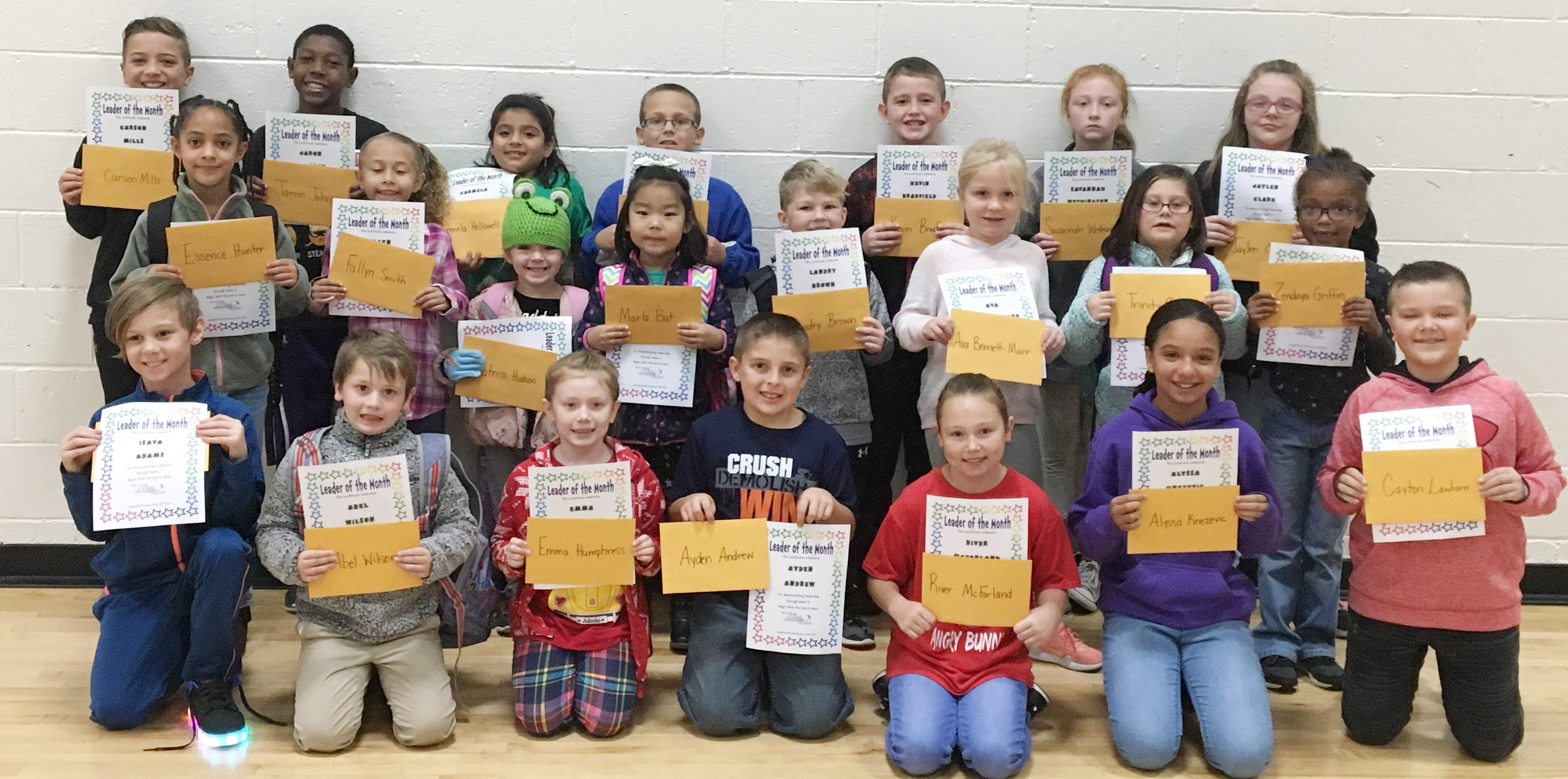 From left, front, are fourth-grader Isaya Adams, first-grader Abel Wilson, second-graders Emma Humphress and Ayden Andrew, fourth-grader River McFarland, fifth-grader Alyssa Knezevic and fourth-grader Cayton Lawhorn. Second row, third-grader Essence Hunter, first-grader Fallyn Smith, kindergarteners Katniss Hudson and Marla Bat, first-grader Landry Brown, second-graders Ava Bennett-Marr and Trinity Clark and kindergartener Daya Griffin. Back, fifth-grader Carson Mills, fourth-grader Jaron Johnson, first-grader Carmela Hollowell, third-graders Brendan Martin and Kevin Bradfield and fifth-graders Savannah Wethington and Jaylen Clark. Absent from the photo are kindergarteners Lucy Oliver, Chloe Calhoun and Bentley Cox, second-grader Jayden Maupin and third-grader Jackson Bates.