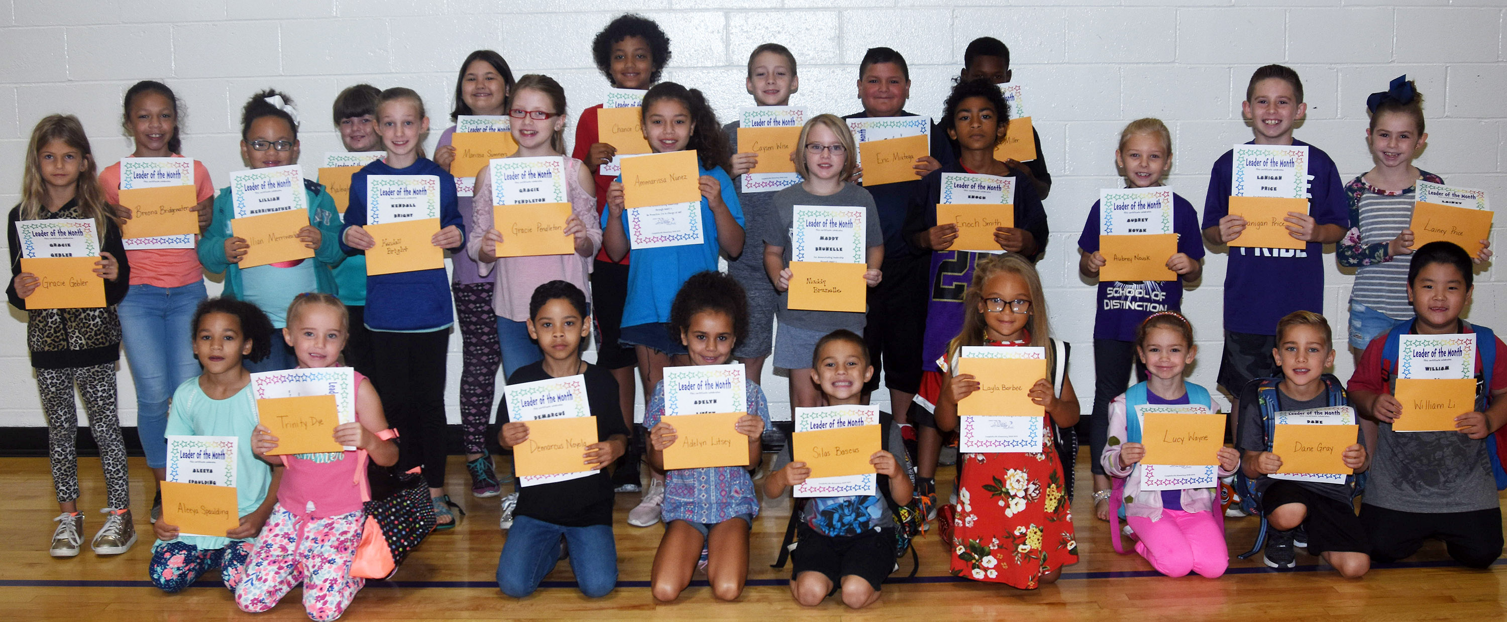 From left, front, are second-graders Aleeya Spaulding, first-grader Trinity Dye, second-grader Demarcus Noyola, first-grader Adelyn Litsey, kindergarteners Silas Bascus, Layla Barbee, Lucy Wayne and Dane Gray and first-grader William Li. Second row, second-grader Gracie Gebler, fifth-grader Breona Bridgewater, first-grader Lillian Merriweather, fifth-graders Kendall Bright and Gracie Pendleton, third-graders Ammarissa Nunez, Maddie Brunelle and Enoch Smith, second-grader Aubrey Novak, fourth-grader Lanigan Price and third-grader Lainey Price. Back, fourth-graders Kaleigh Wilhoite and Marissa Sumners, fifth-graders Chance Owens and Caysen Wise and third-graders Eric Mixtega and Lazarick Miller. Absent from the photo is fourth-grader Brealeigh Reed.