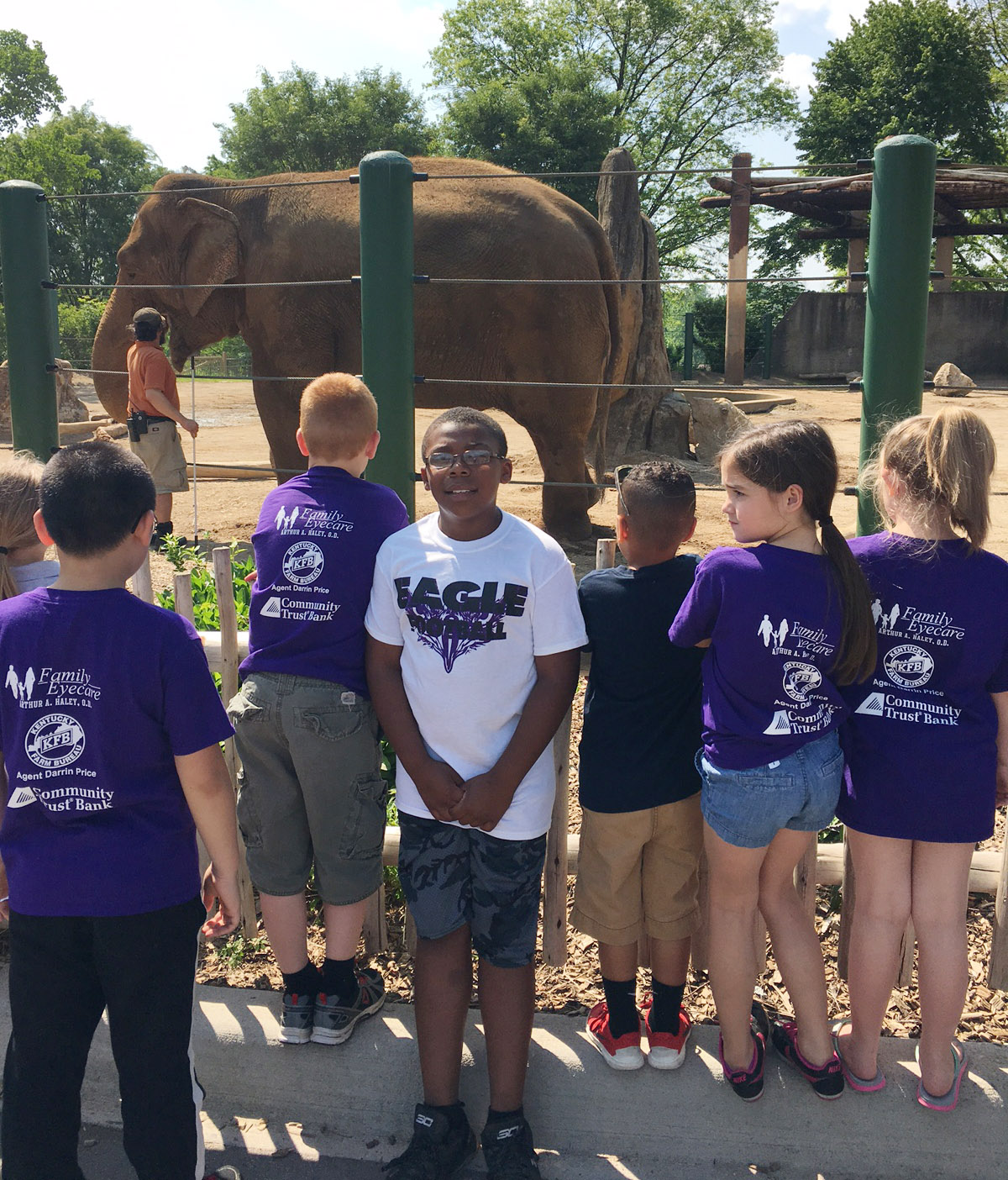 CES third-grader Austin Sloan and his classmates check out an elephant.