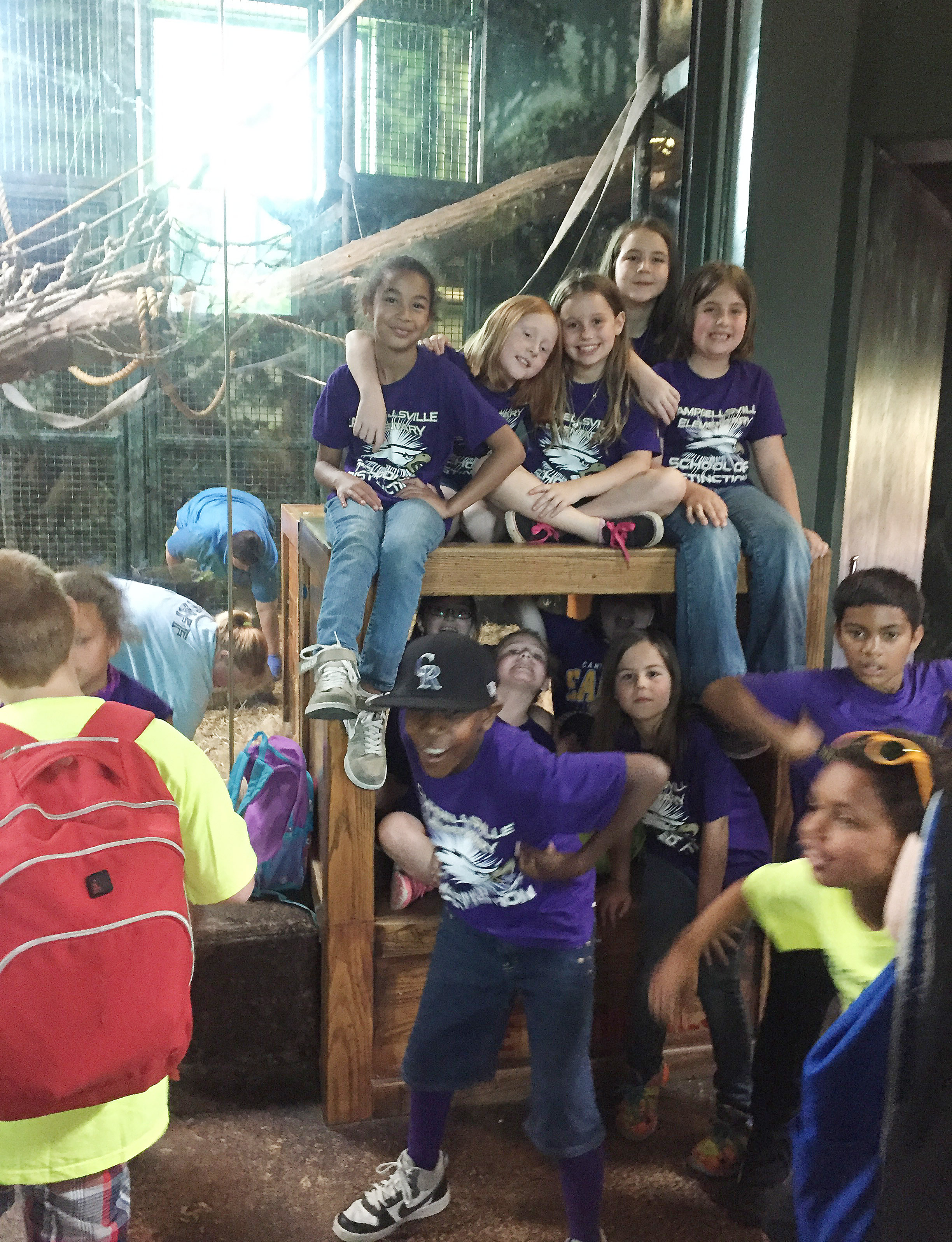 CES third-graders have fun at an exhibit.