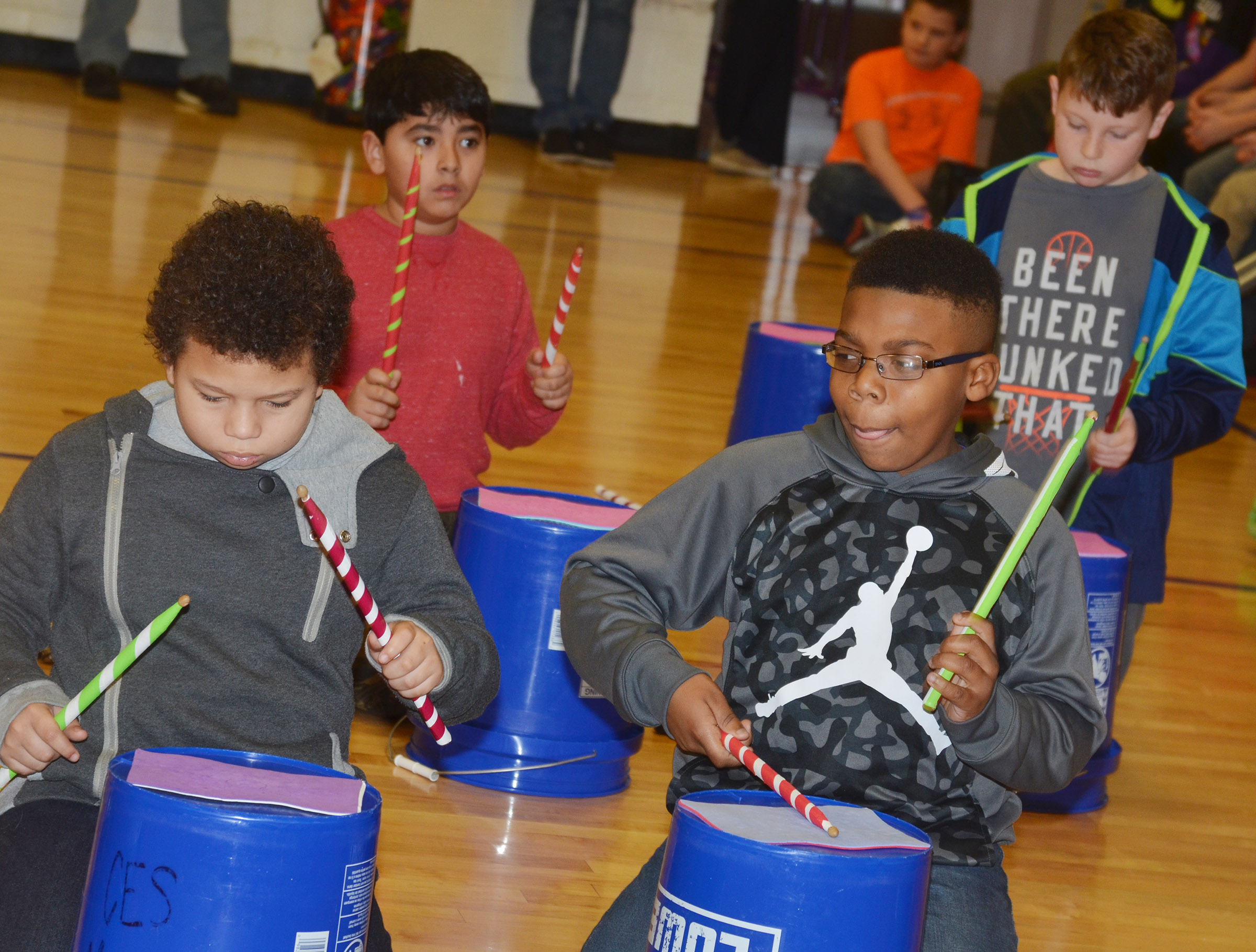 "CES fourth-graders perform ""Run, Run, Rudolph."" In front are Toby Adams, at left, and Austin Sloan. Back, Cody Tamez, at left, and Lucas Gribbins."