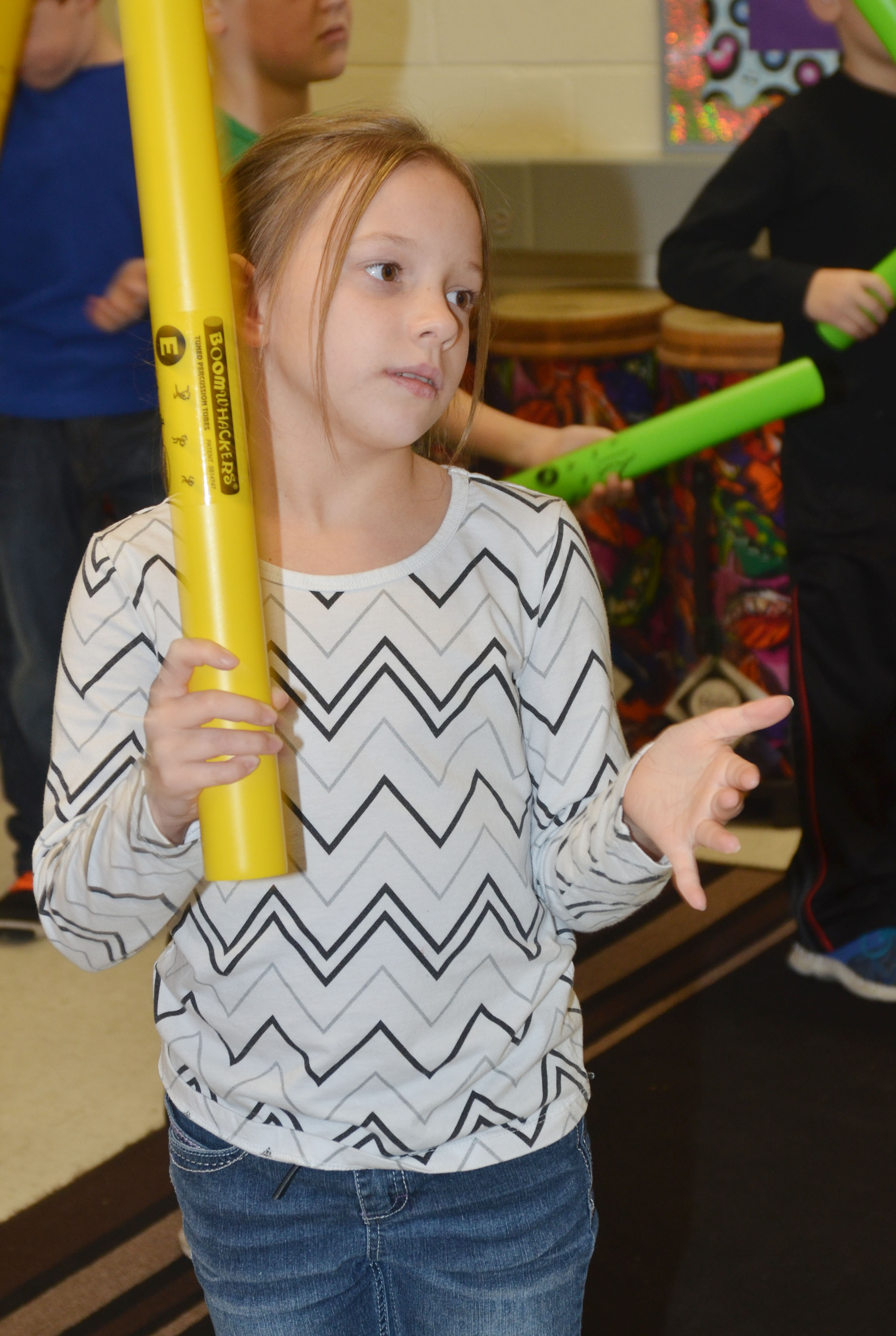 CES second-grader Alyah Meadows plays the boomwhacker.
