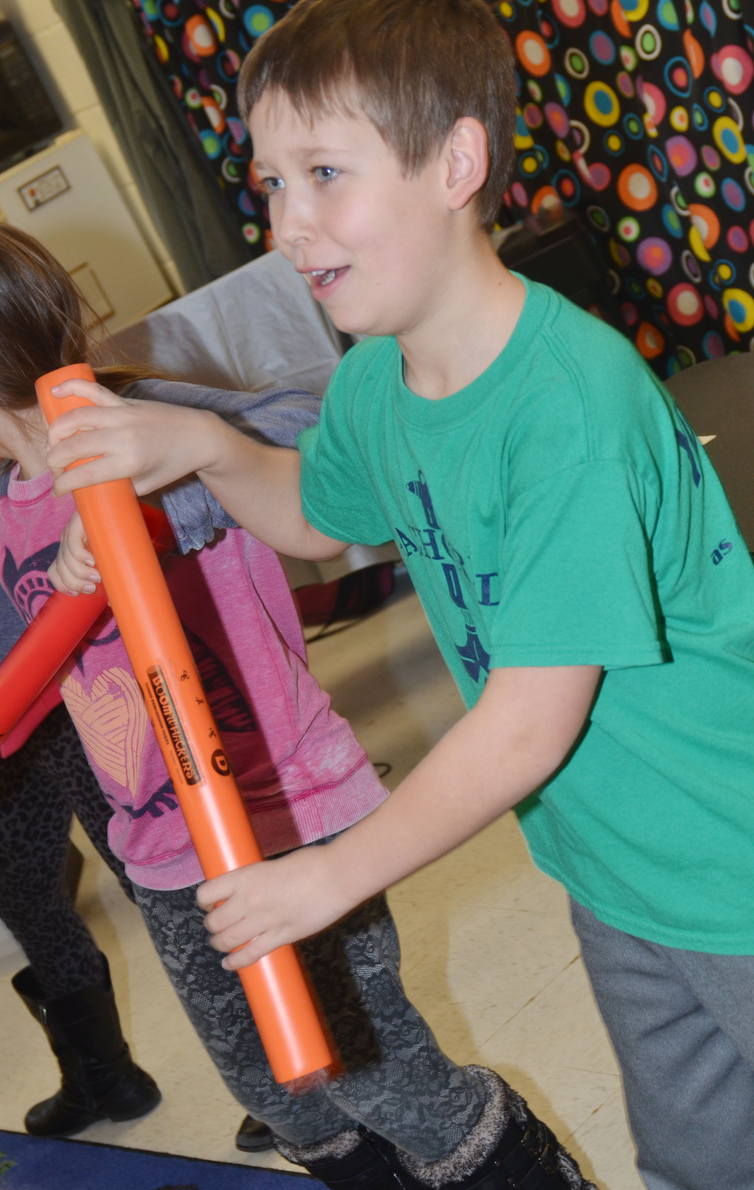 CES second-grader Emerson Dengel plays the boomwhacker.
