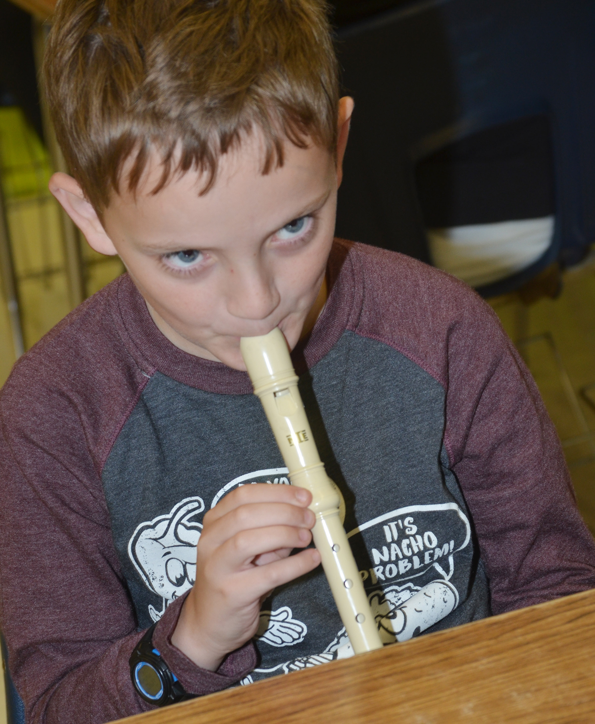 CES fifth-grader Noah Leachman plays the recorder.