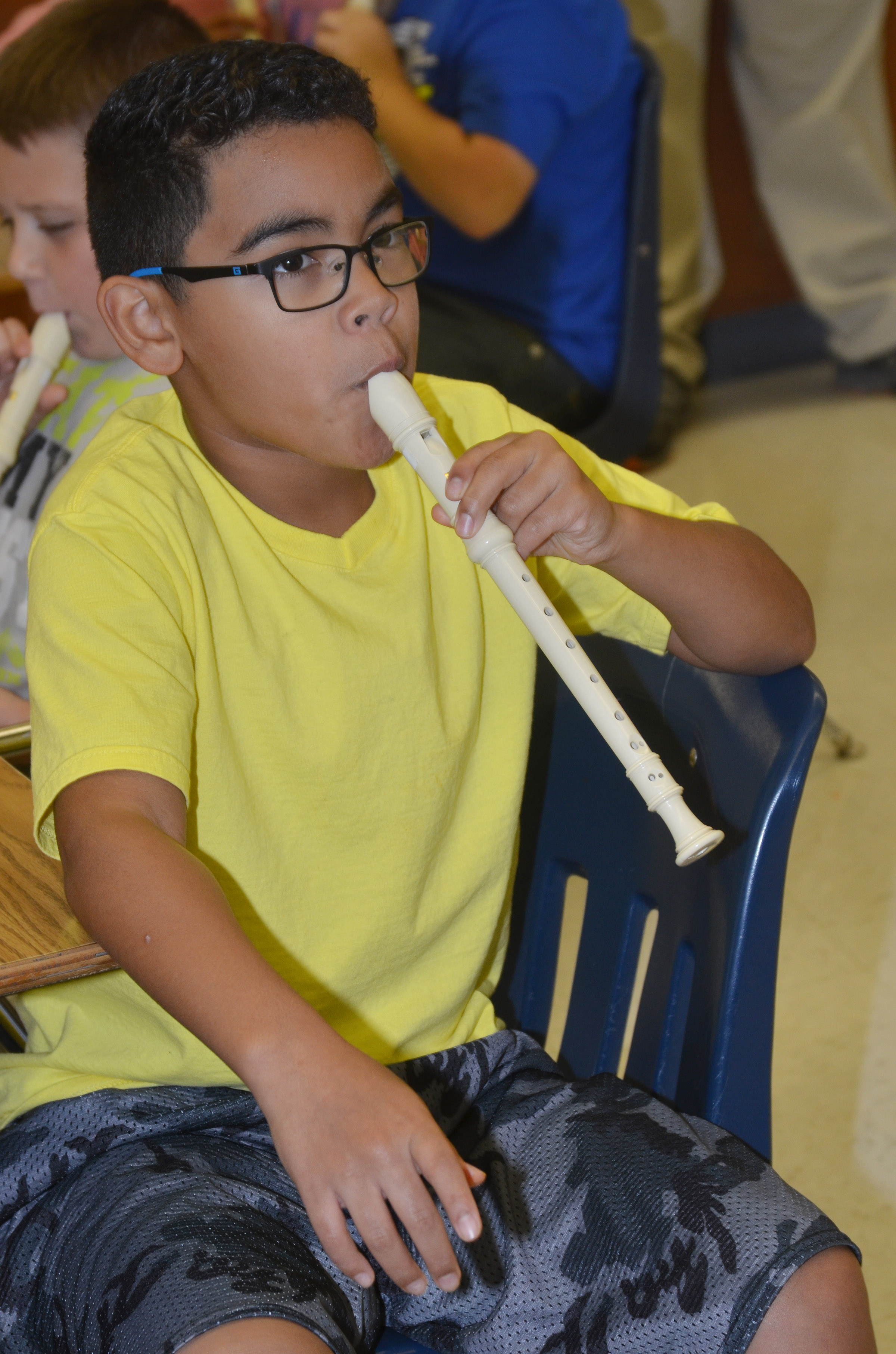 CES fifth-grader Gabriel Noyola plays the recorder.