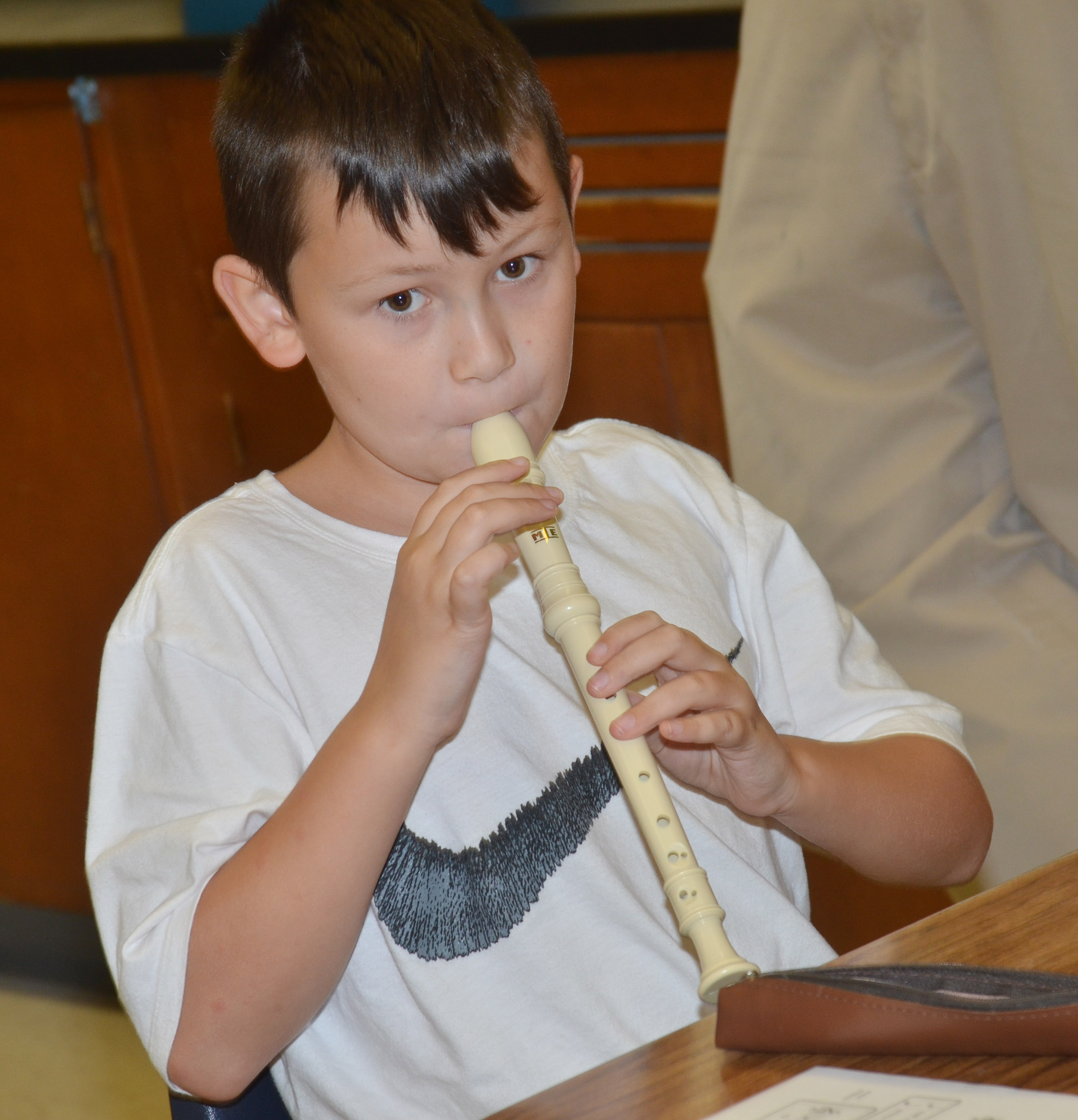 CES fifth-grader Mason Fisher plays the recorder.