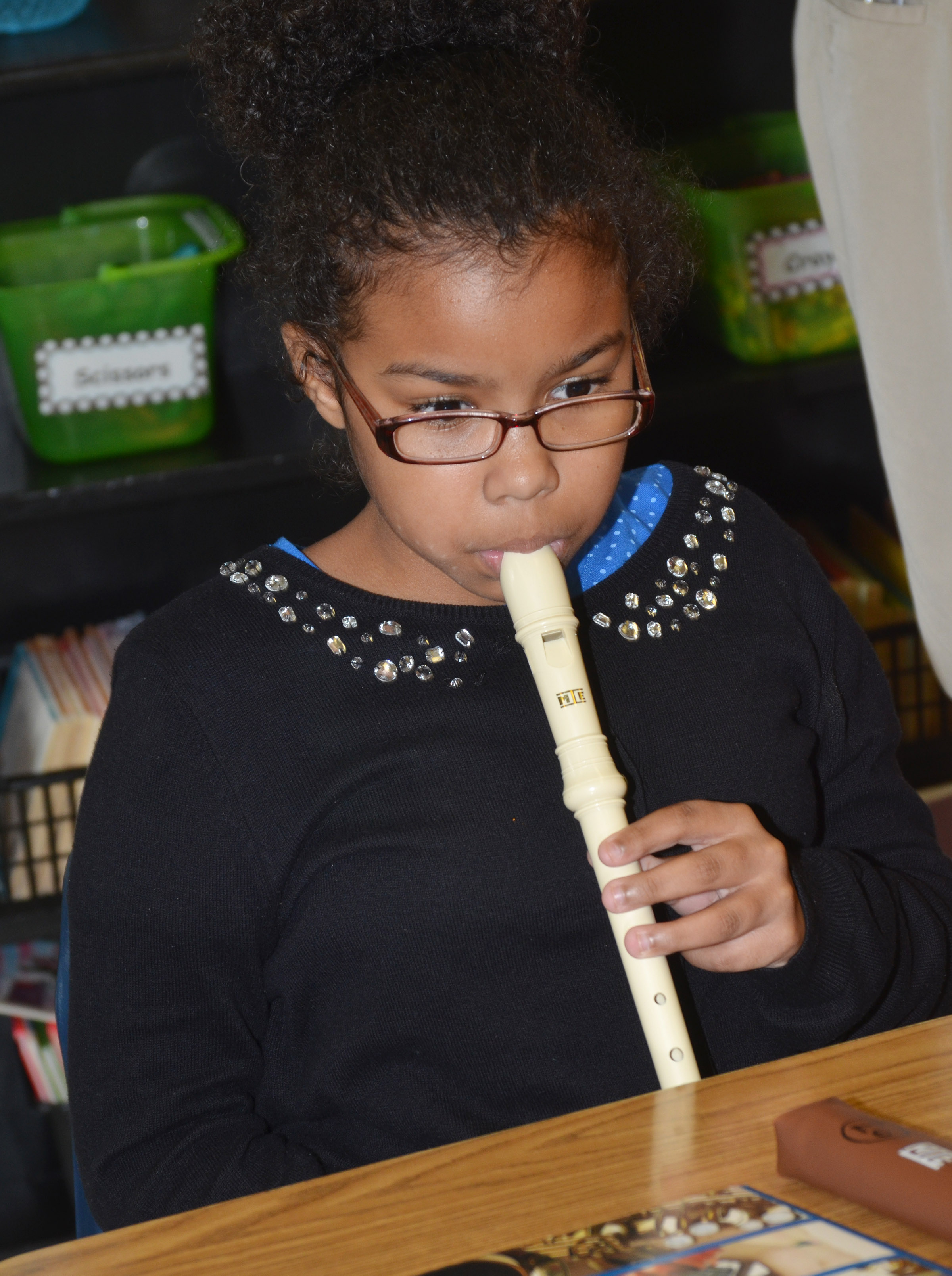 CES fifth-graders Serenity Mings plays the recorder.