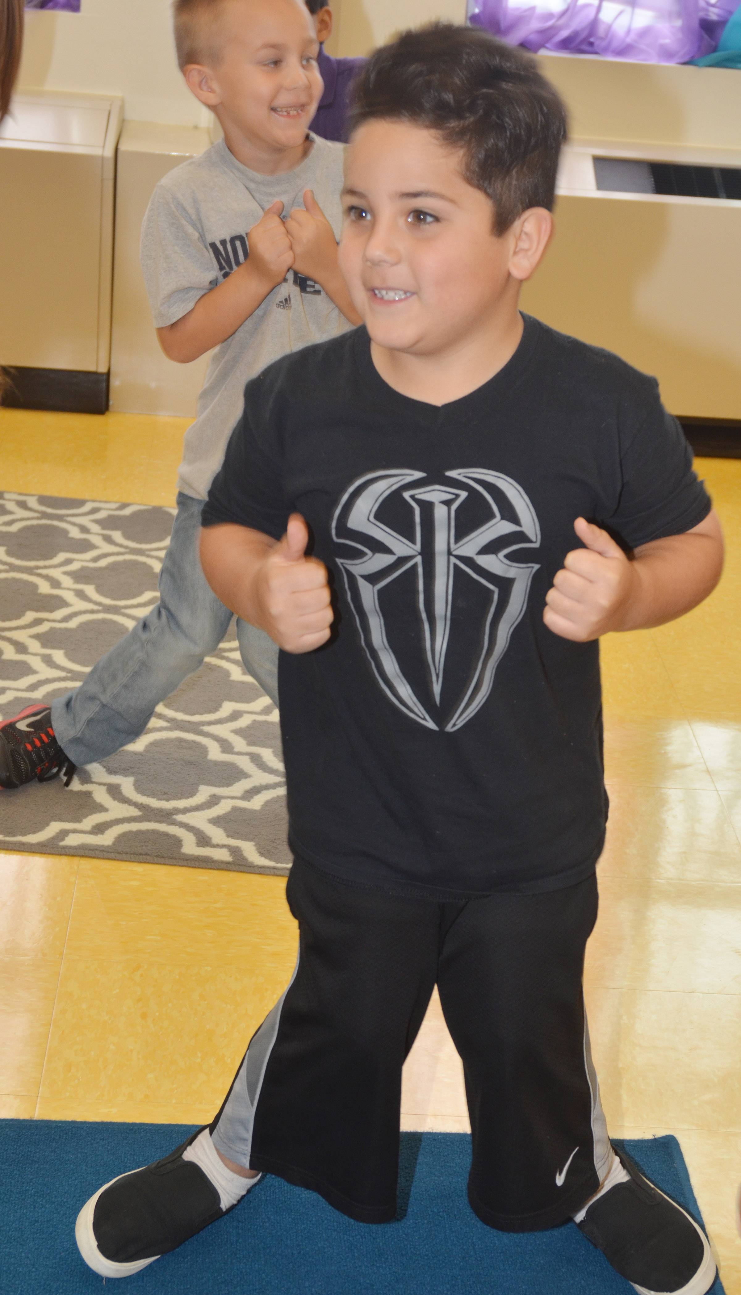 "CES second-grader Nicholas Almeida dances to ""A Tooty Tay."""
