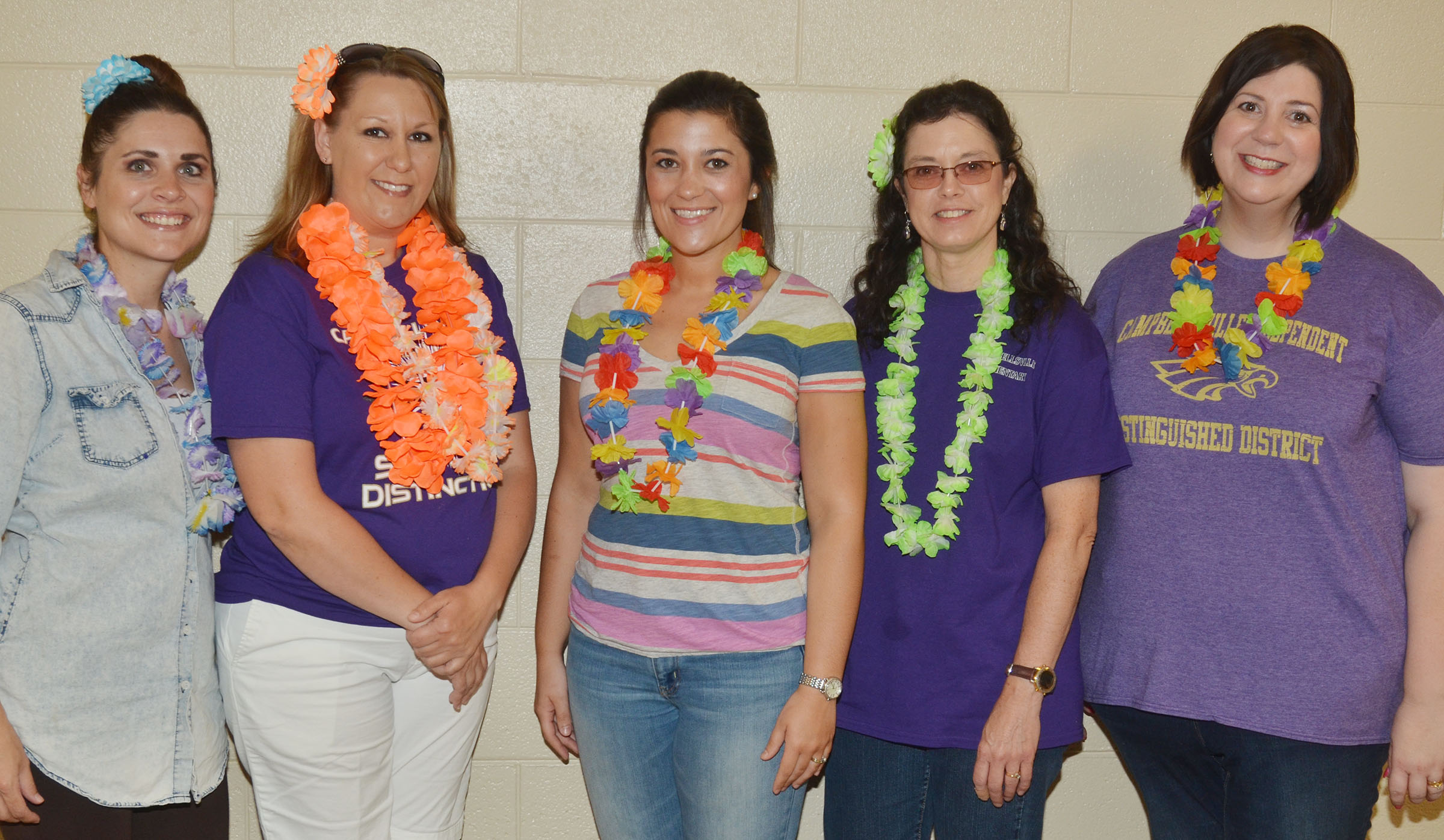 CES first-grade teachers, from left, Luci Shofner, Amanda Greer, Hailey Ogle, Shirley Cox and Lisa Mardis dress for Beach Day.