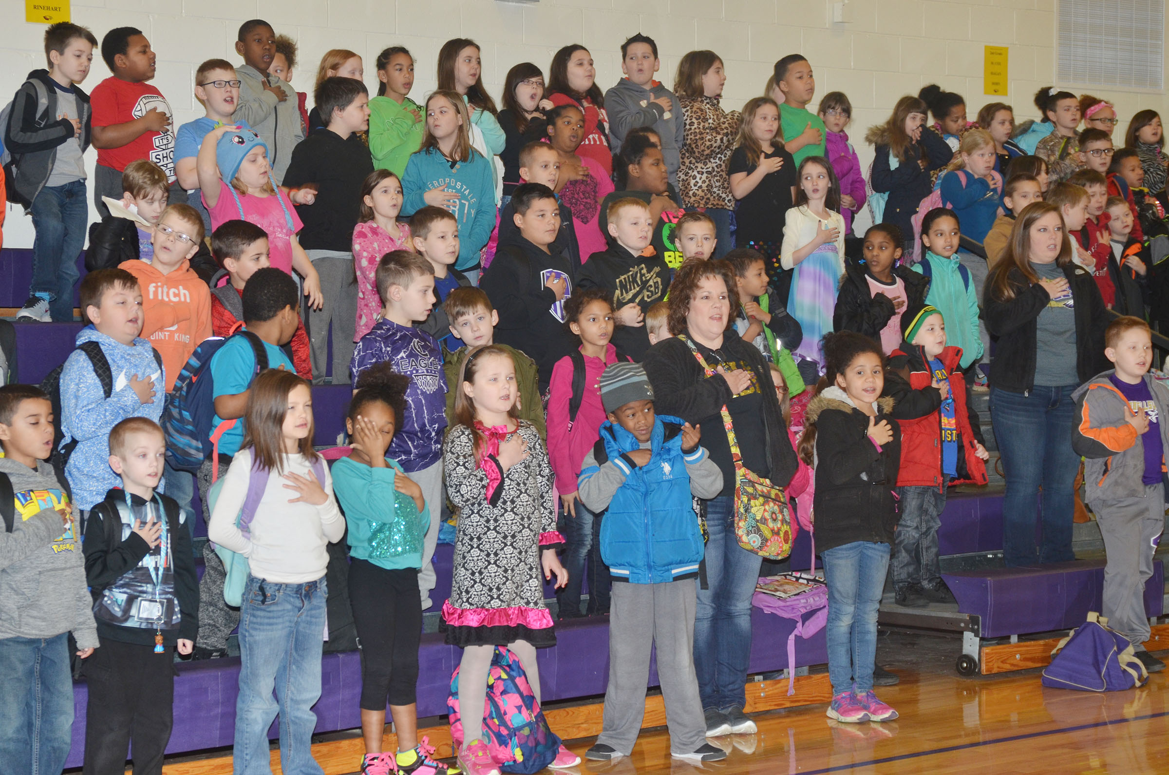 CES students gather together for an assembly in their newly renovated gymnasium.