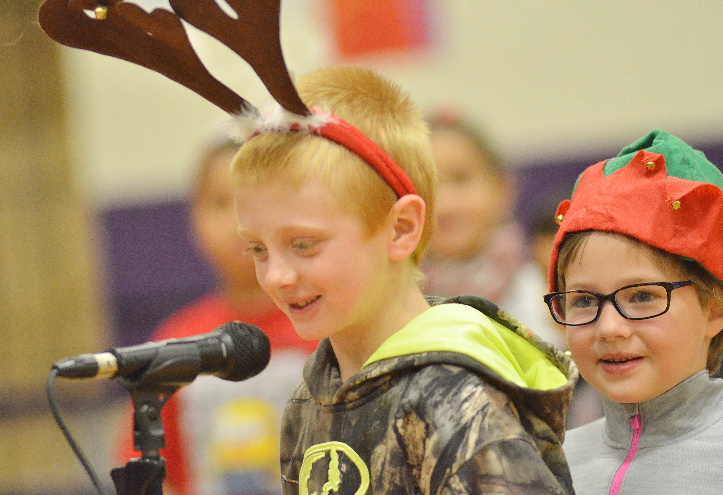 CES first-grader Jacob Wethington recites his lines as Addelyn Dooley waits her turn.