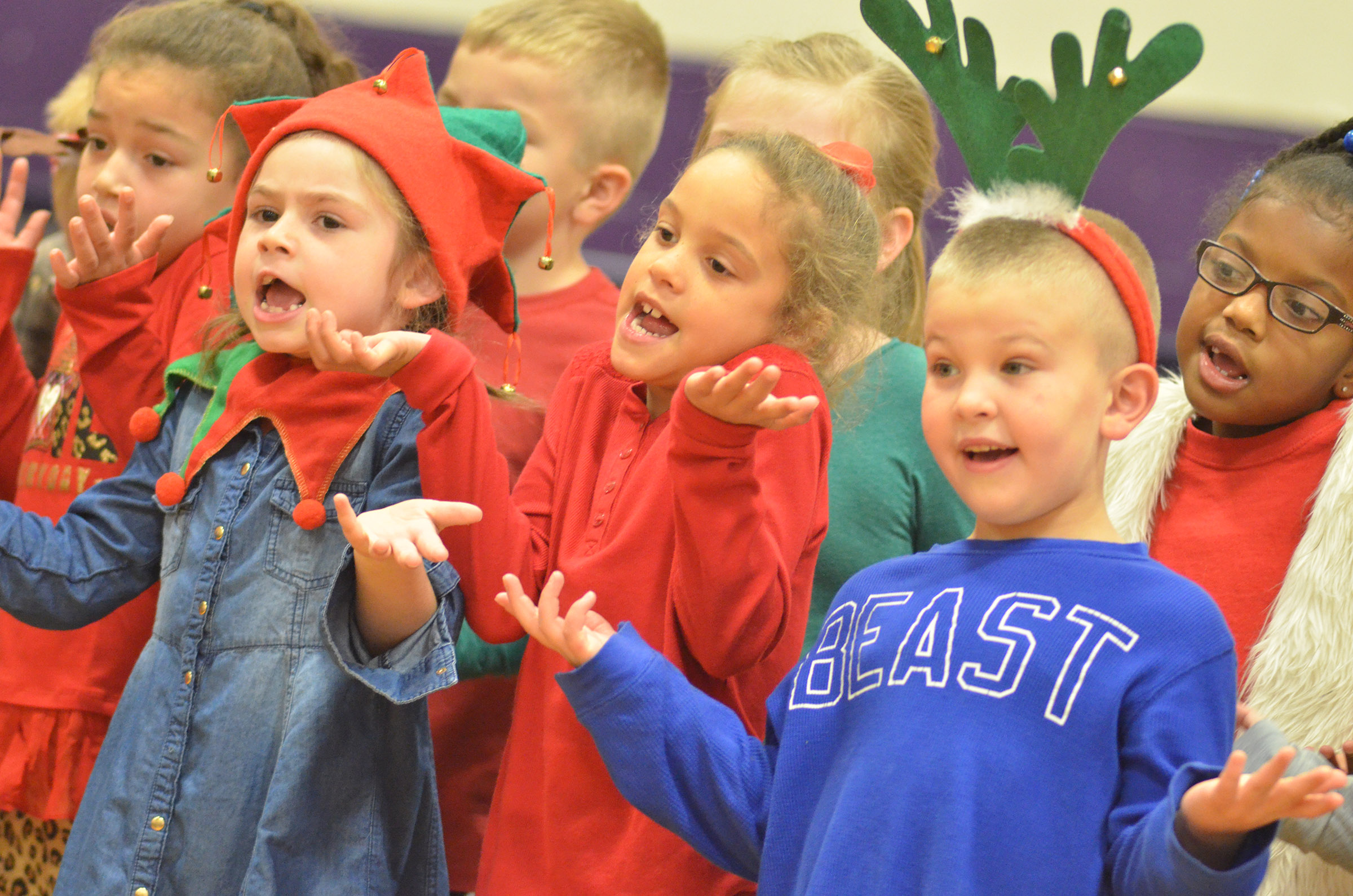 From left, CES first-graders Ammarissa Nunez, Lainey Price, Keiava Thompson and Ethan Bailey perform.