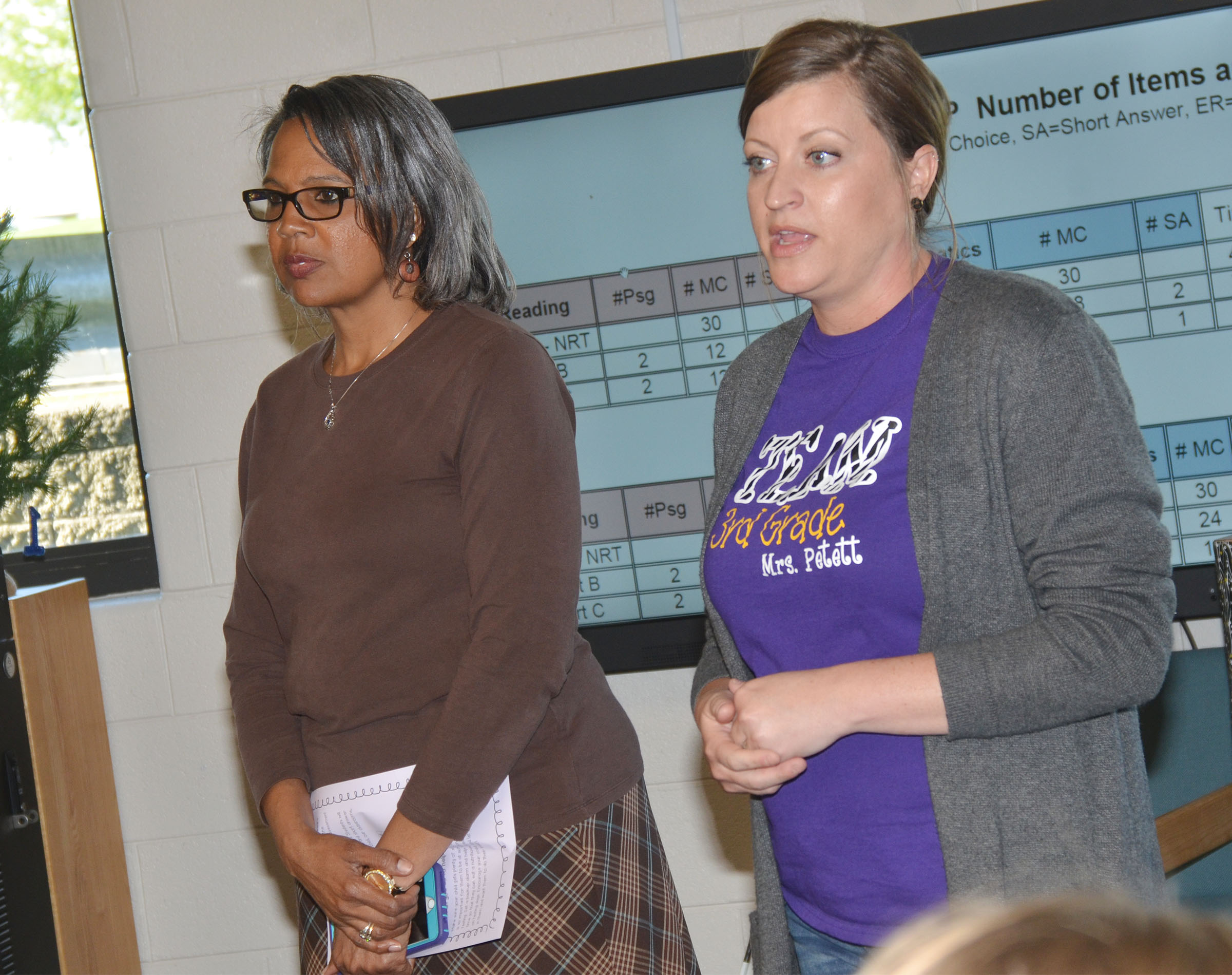 CES third-grade teachers Doretha Sanders, at left, and Ashlee Petett talk with students' parents about state testing.