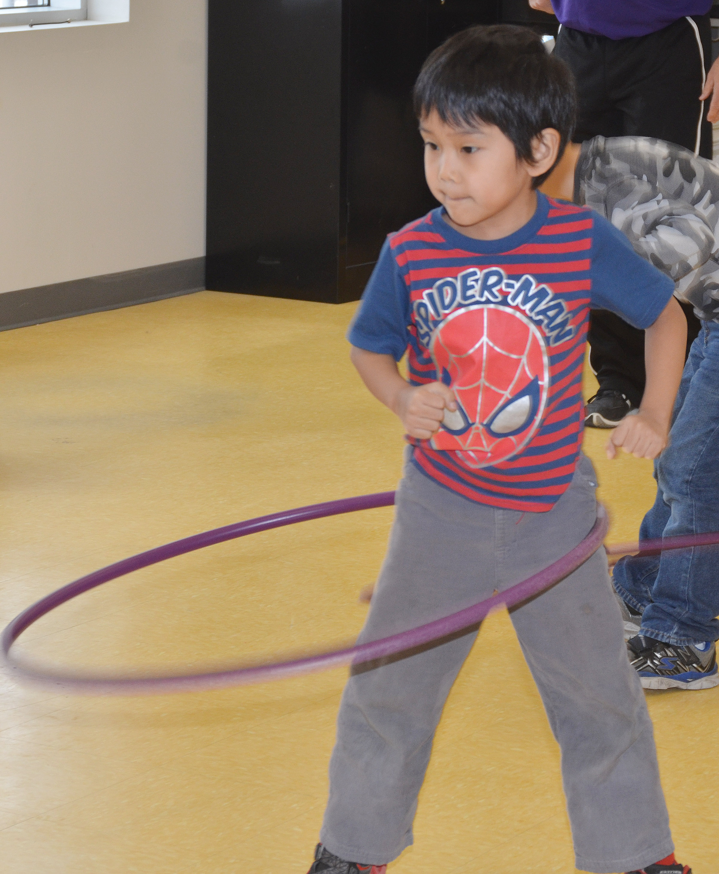 CES first-grader Zach Hak sees how long he can hula hoop.