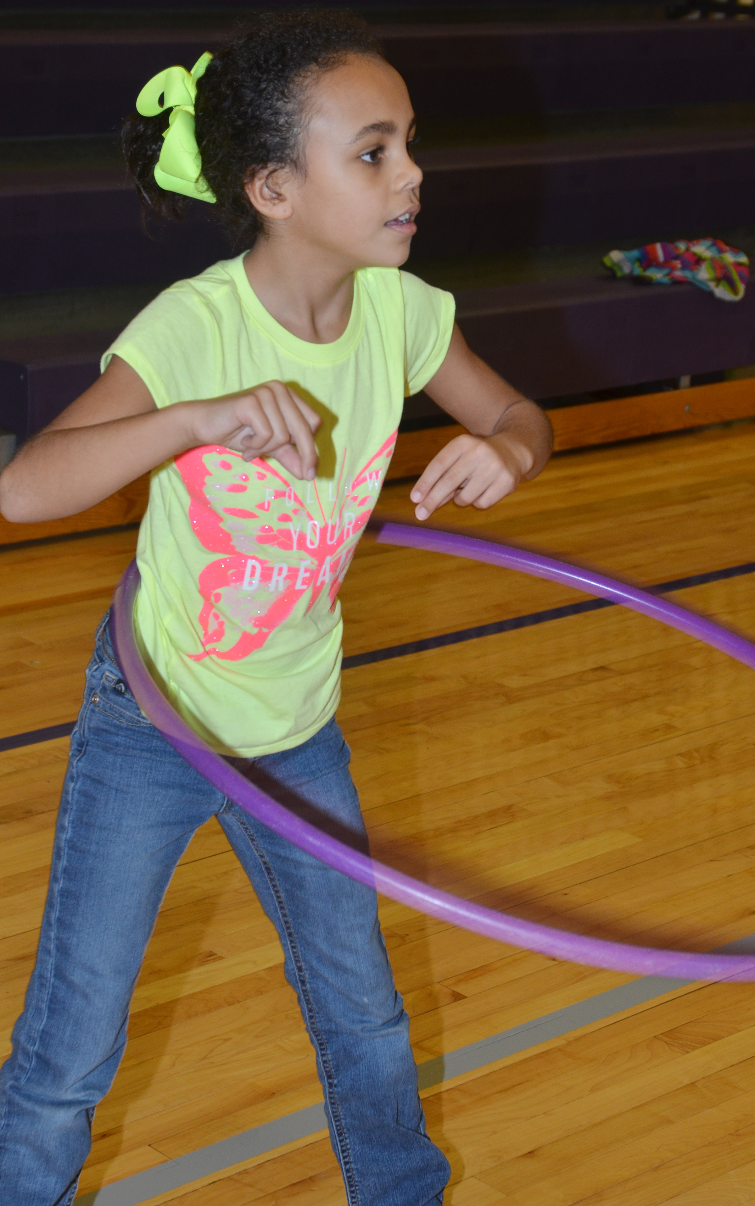 CES second-grader Braelyn Taylor hula hoops.