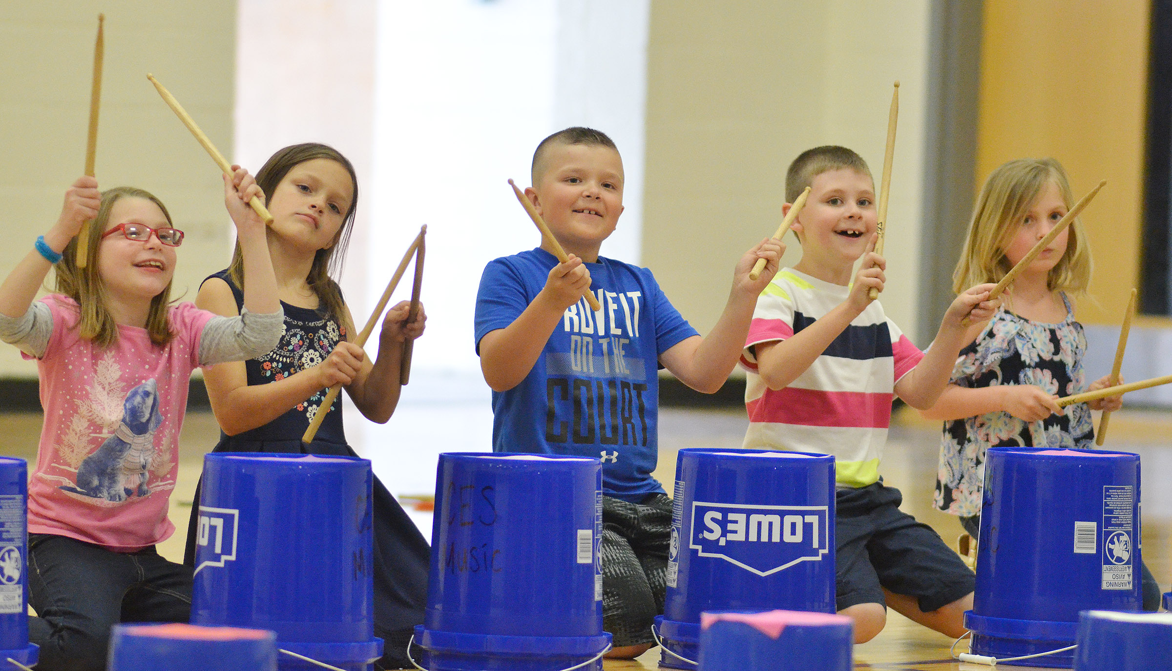 From left, CES second-graders Sammantha Wooley, KayLee Lamer, Cayton Lawhorn, Ryan Tungate and Ava Ellis keep the beat.