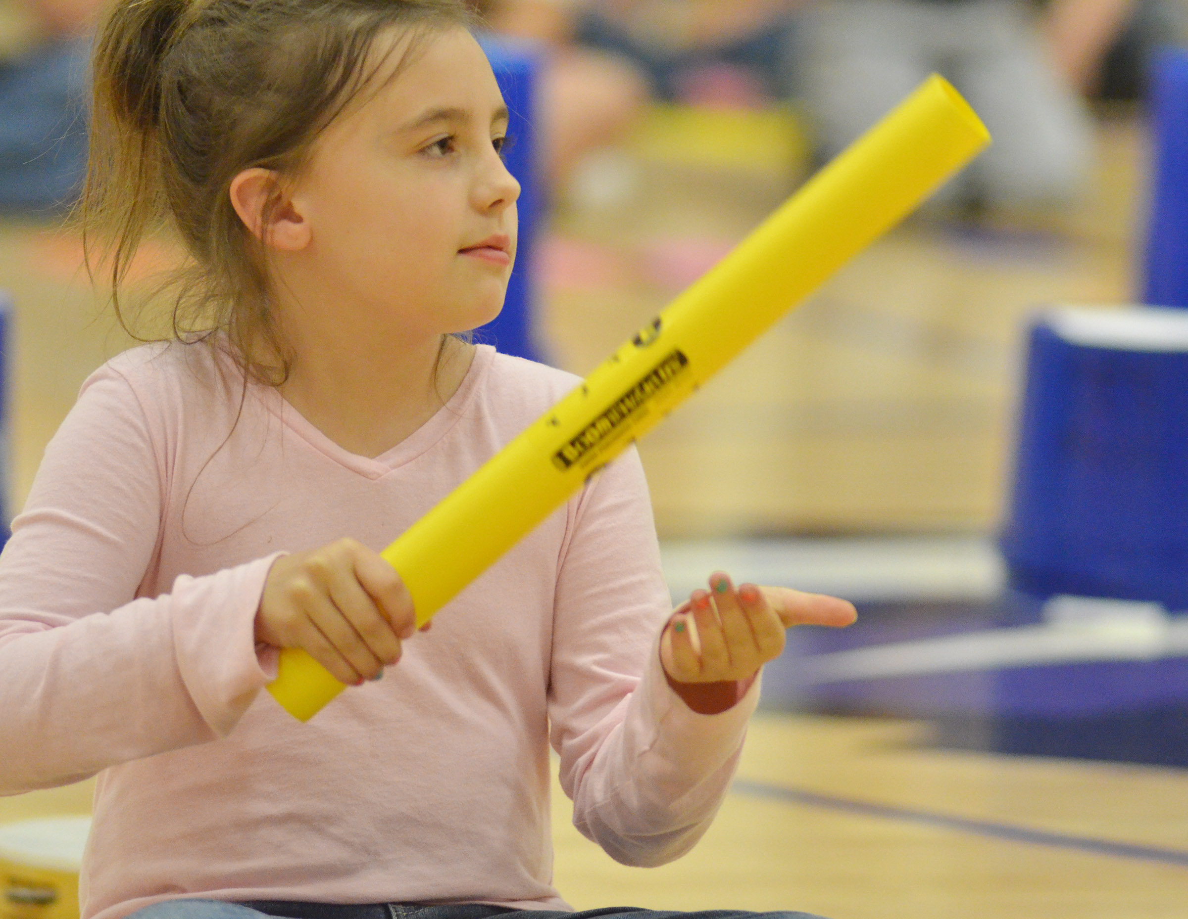 CES second-grader Annabelle Brockman plays the boomwhacker.