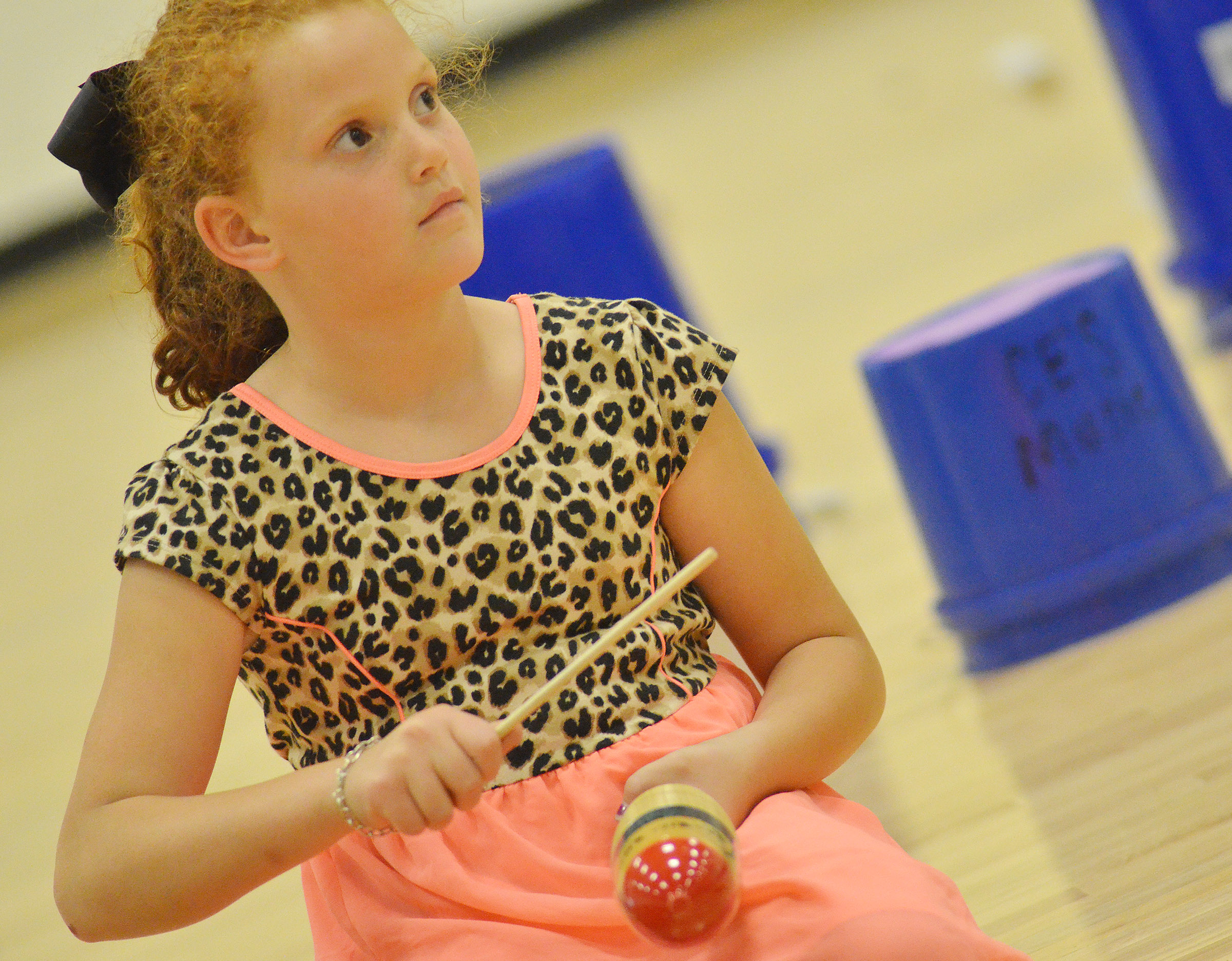 CES second-grader Analeigh Foster watches for her cue.