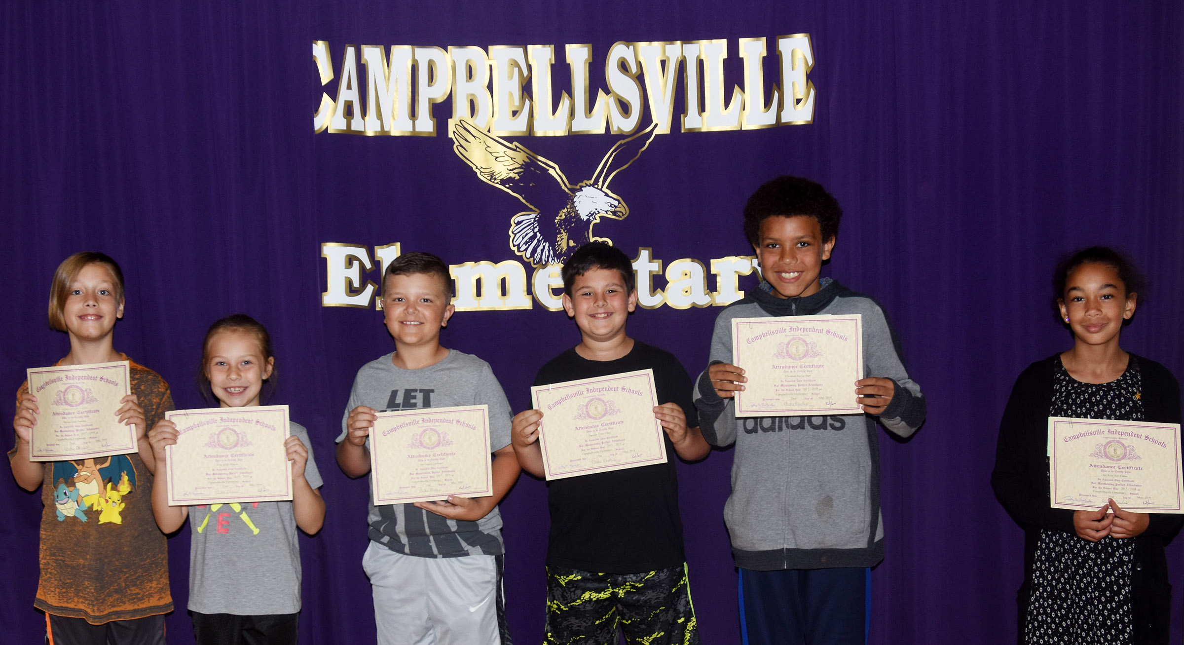 CES perfect attendance award winners for the 2017-2018 school year are, from left, fourth-grader Izak Burress, first-grader Kira Dotson, third-graders Cayton Lawhorn and Damien Clark and fourth-graders Christian Hart and De'Asia Fisher.