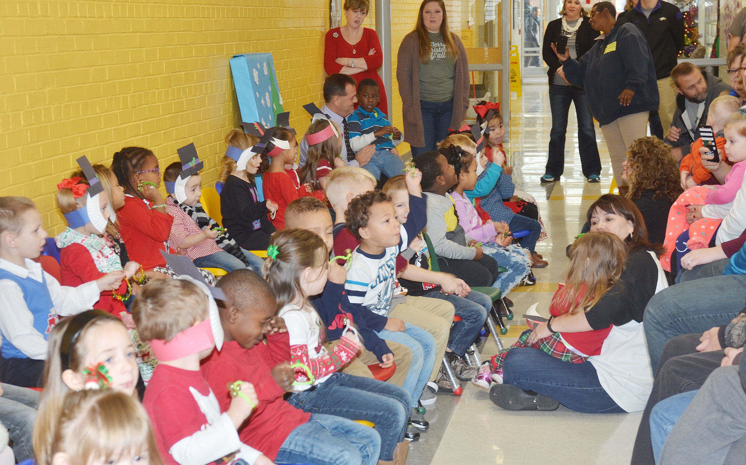 CES preschool students sing Christmas songs for their classmates, friends and family members.