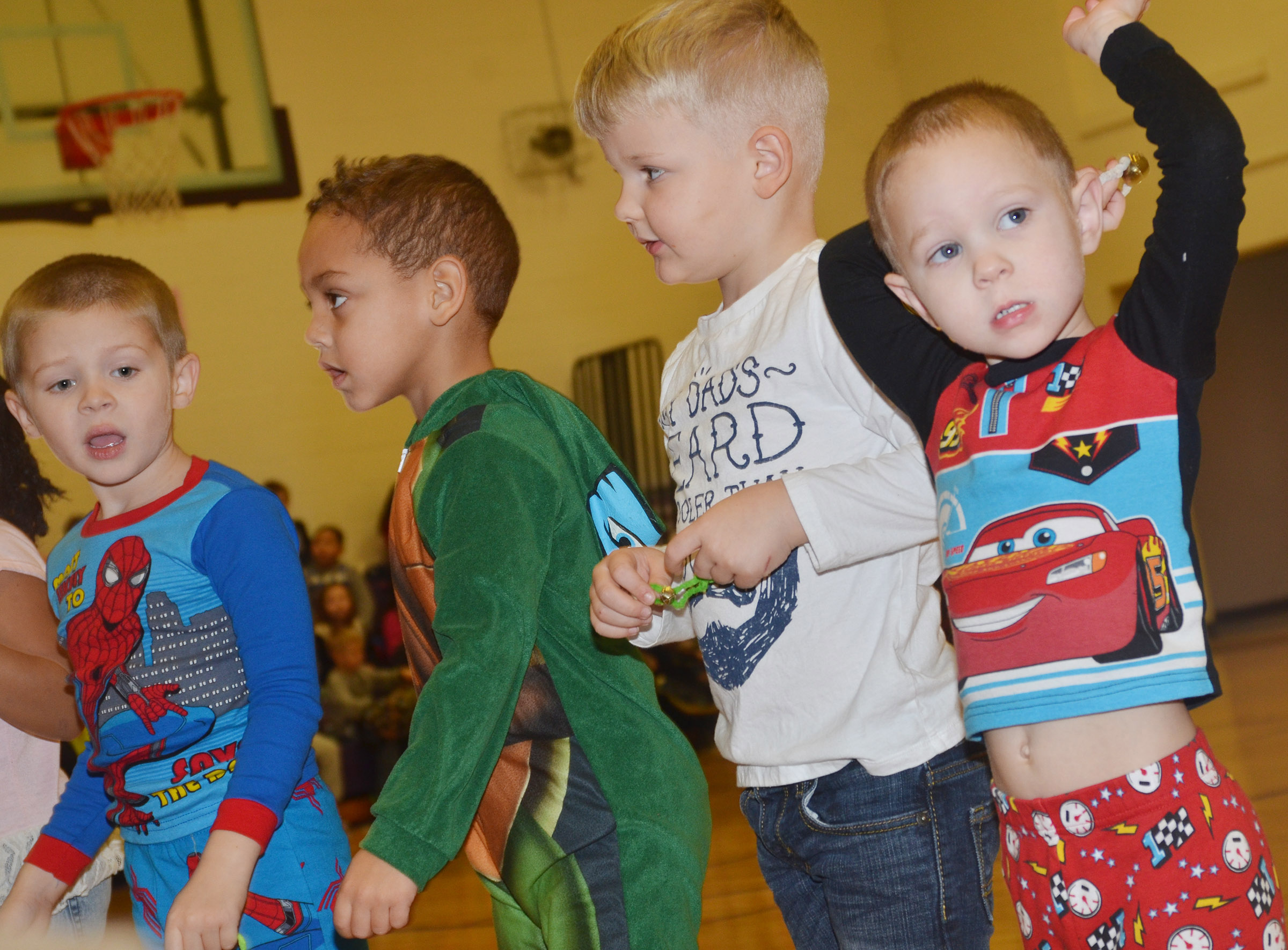 From left, CES preschool students, Brian Daniels, Jasiahas Anderson, Hoyt Davis and Cole Britton perform.