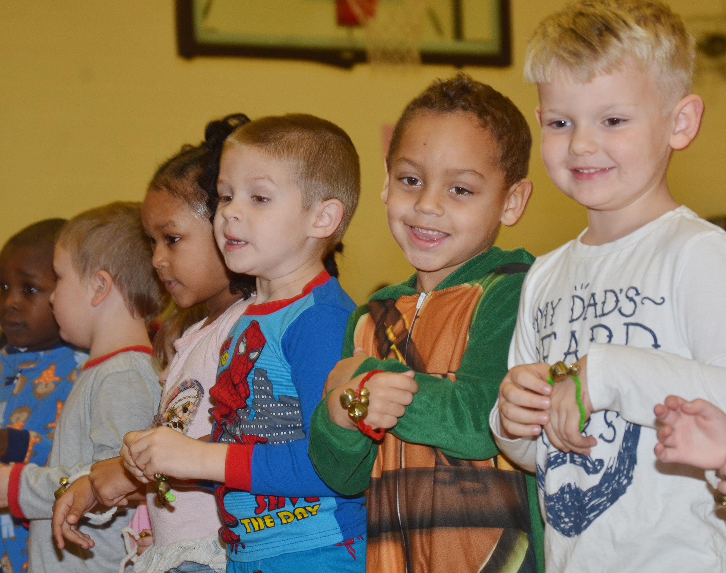 From left, CES preschool students Modesty Taylor, Brian Daniels, Jasiahas Anderson and Hoyt Davis perform with their classmates.