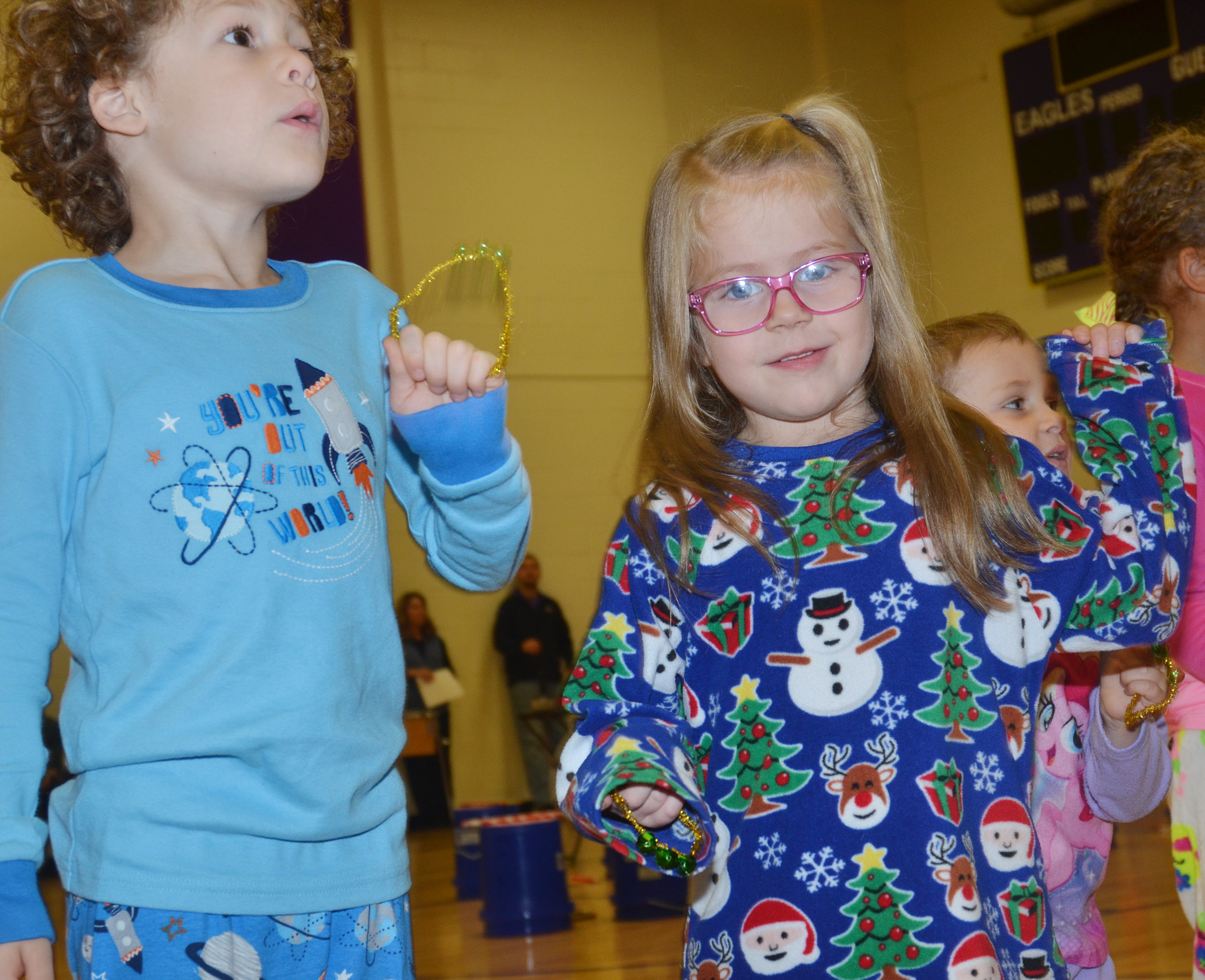 CES preschool students Zyron Young, at left, and Charlotte Coots perform.