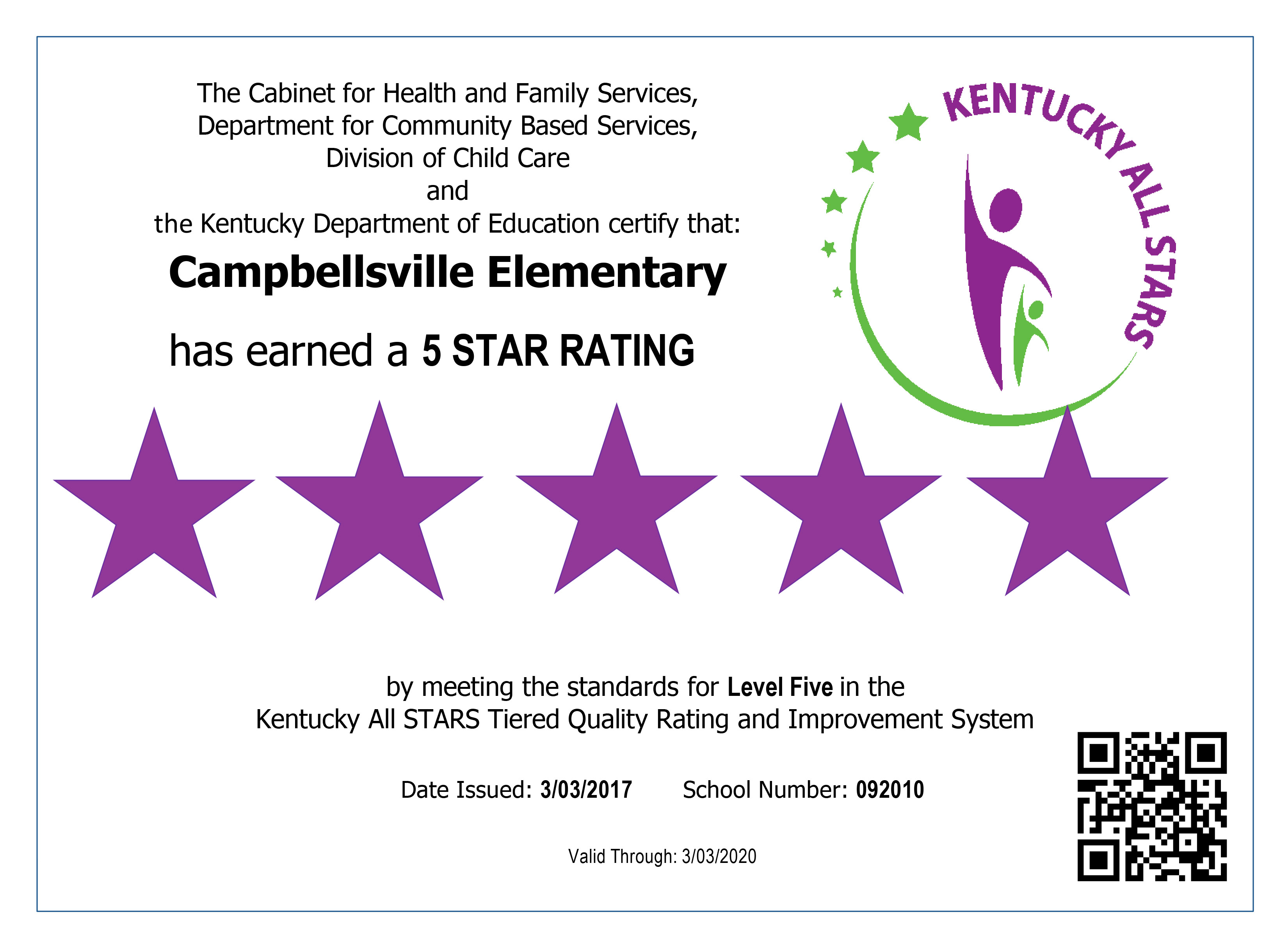 Campbellsville Elementary School preschool program was recently reviewed and has received the highest rating possible – five stars – in the Kentucky All STARS program.