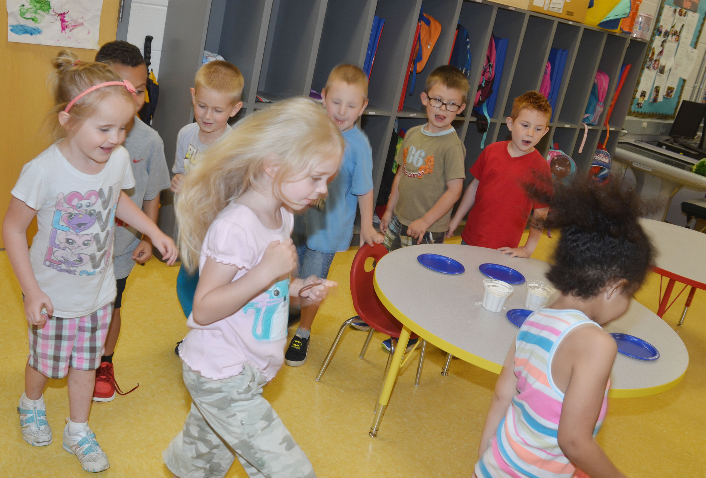 CES preschool students practice walking together as a group.