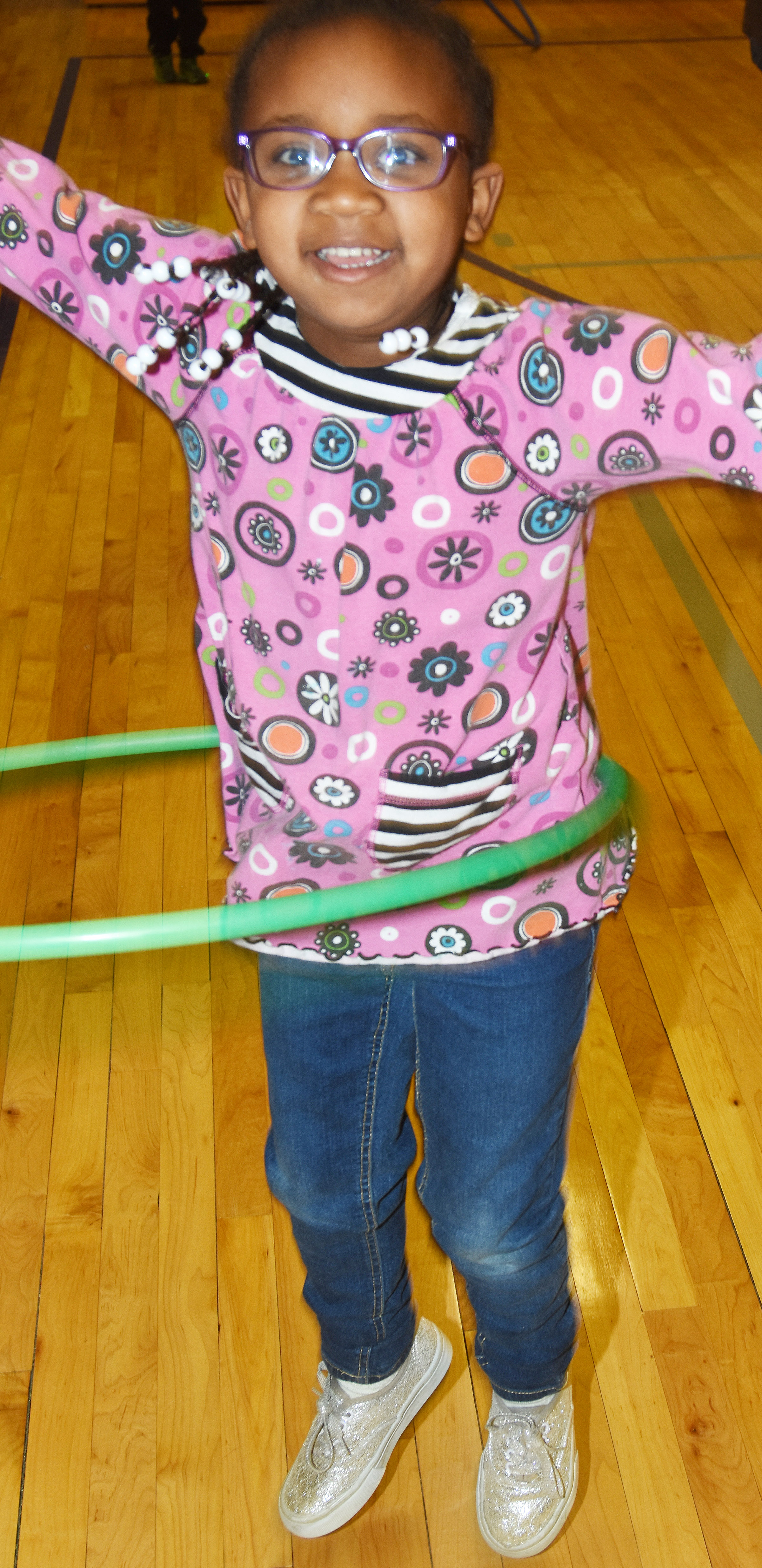 CES preschool student Kyona Mitchell hula hoops.