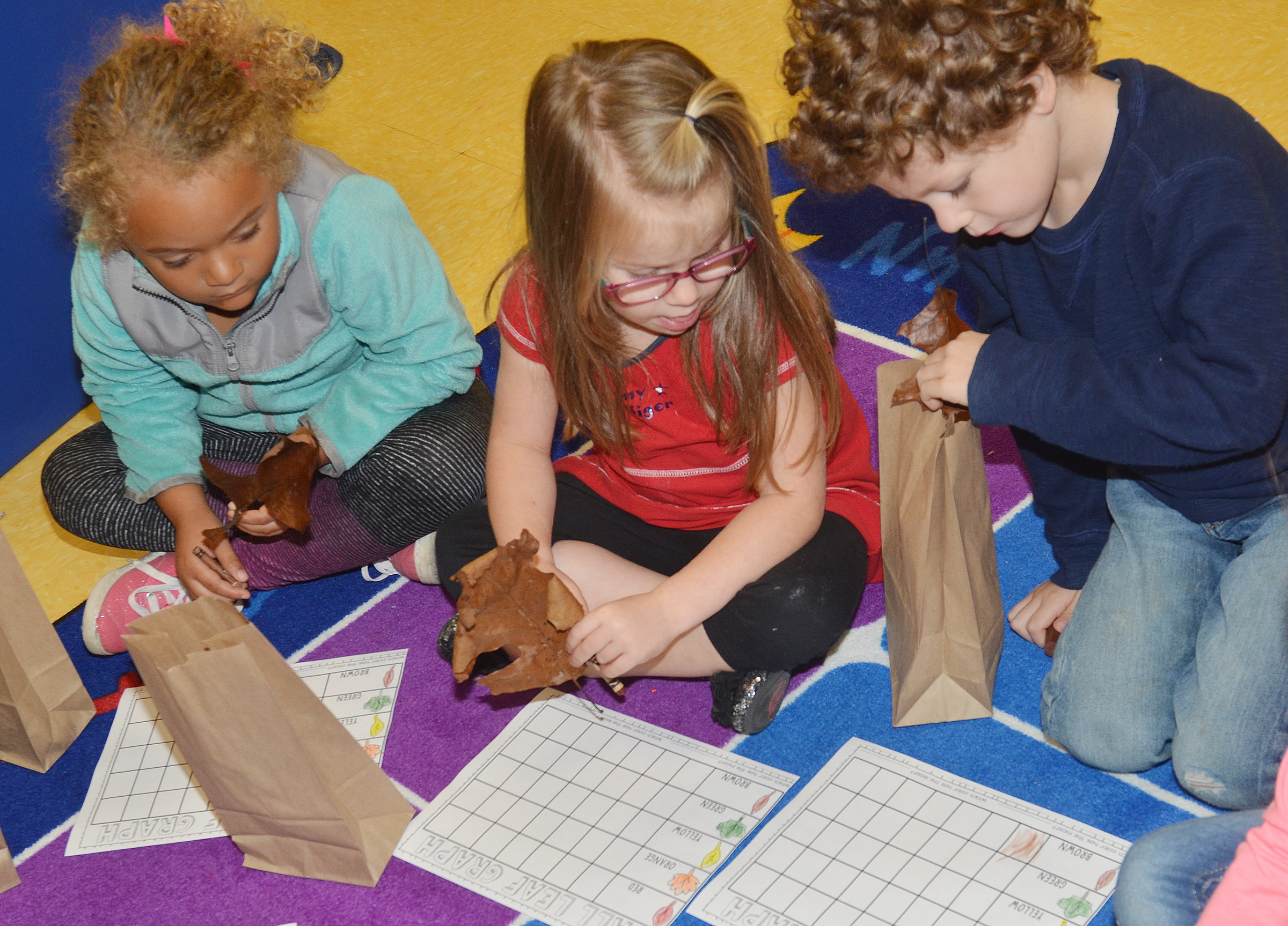 CES preschool students, from left, Layla Barbee, Charlotte Coots and Zyron Young sort their leaves.