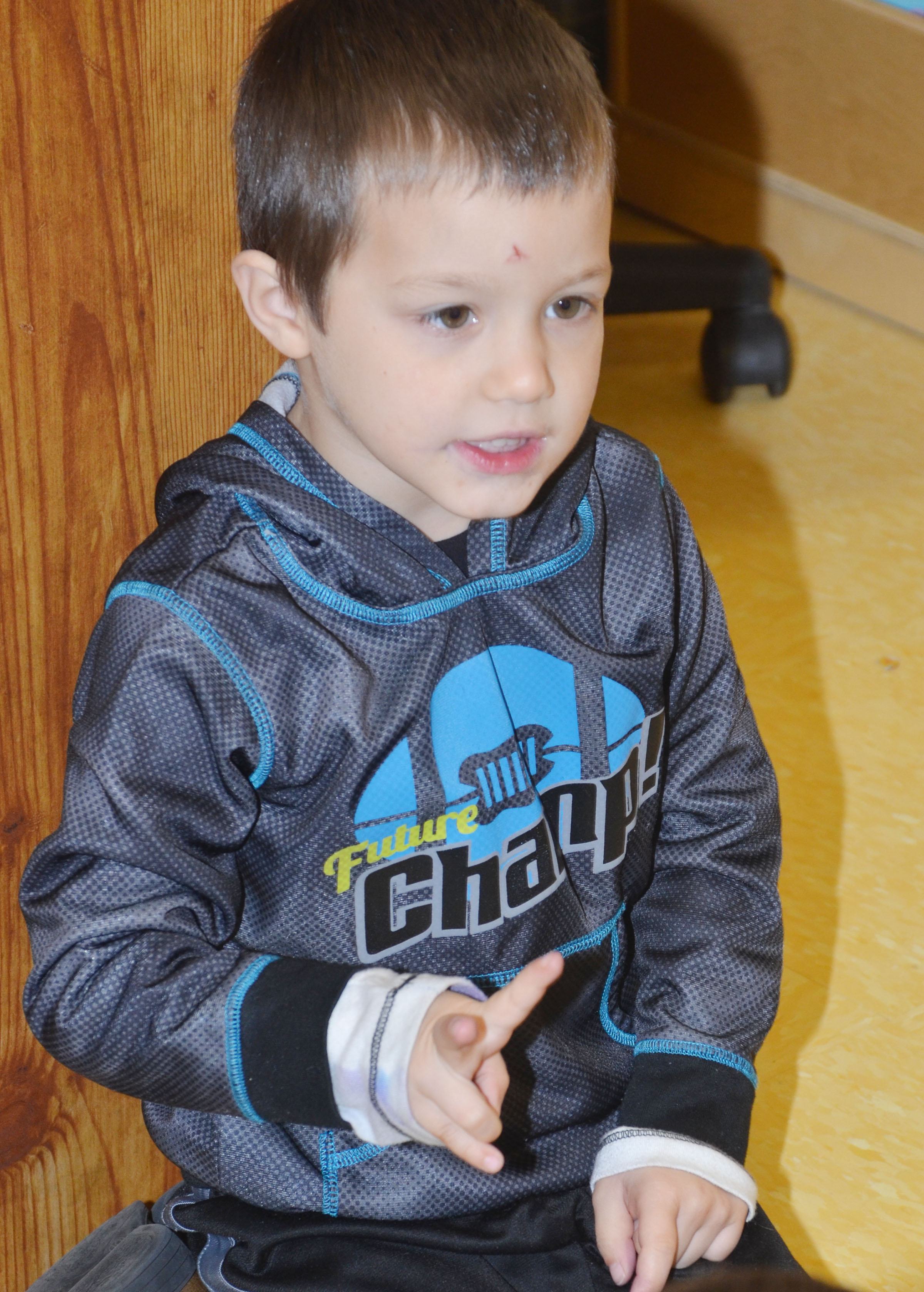 CES preschool student Levi Ritchie counts as he sings.