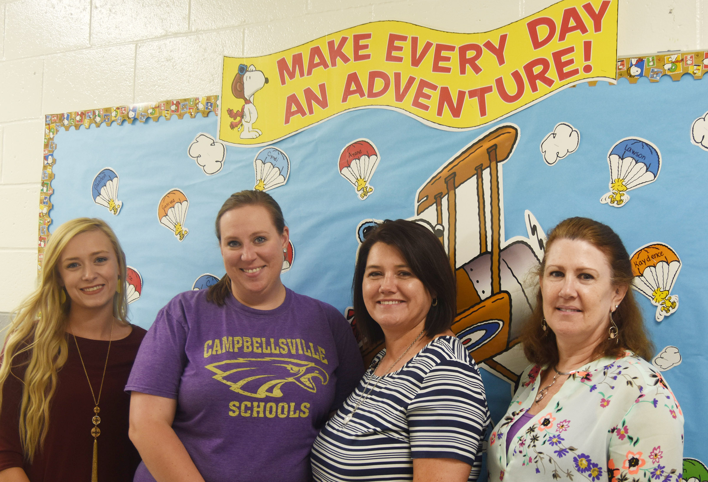 CES preschool classes will begin on Monday, Aug. 20. This year's teachers are Julie Shelton and Denise Spencer, second and third from left, respectively, and assistants Tesa Novak, at left, and Lisa Durham.
