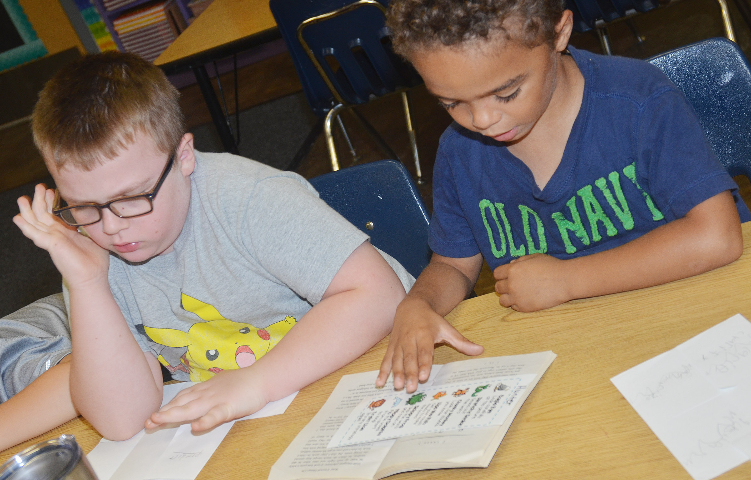 CES second-graders Hunter Clark, at left, and Javion Milby read.
