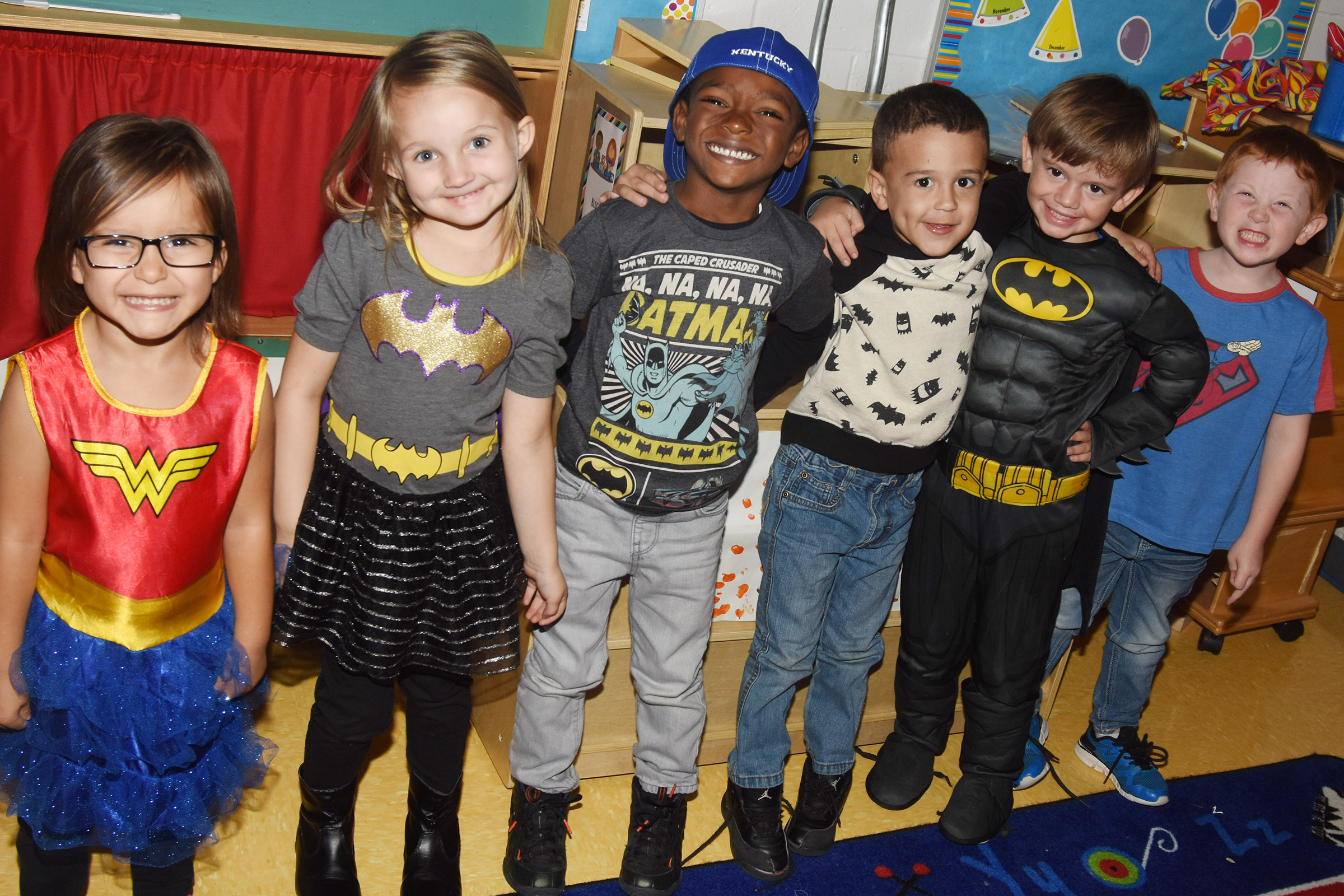 CES students and staff members dress for Super Heroes Don't Do Drugs Day.