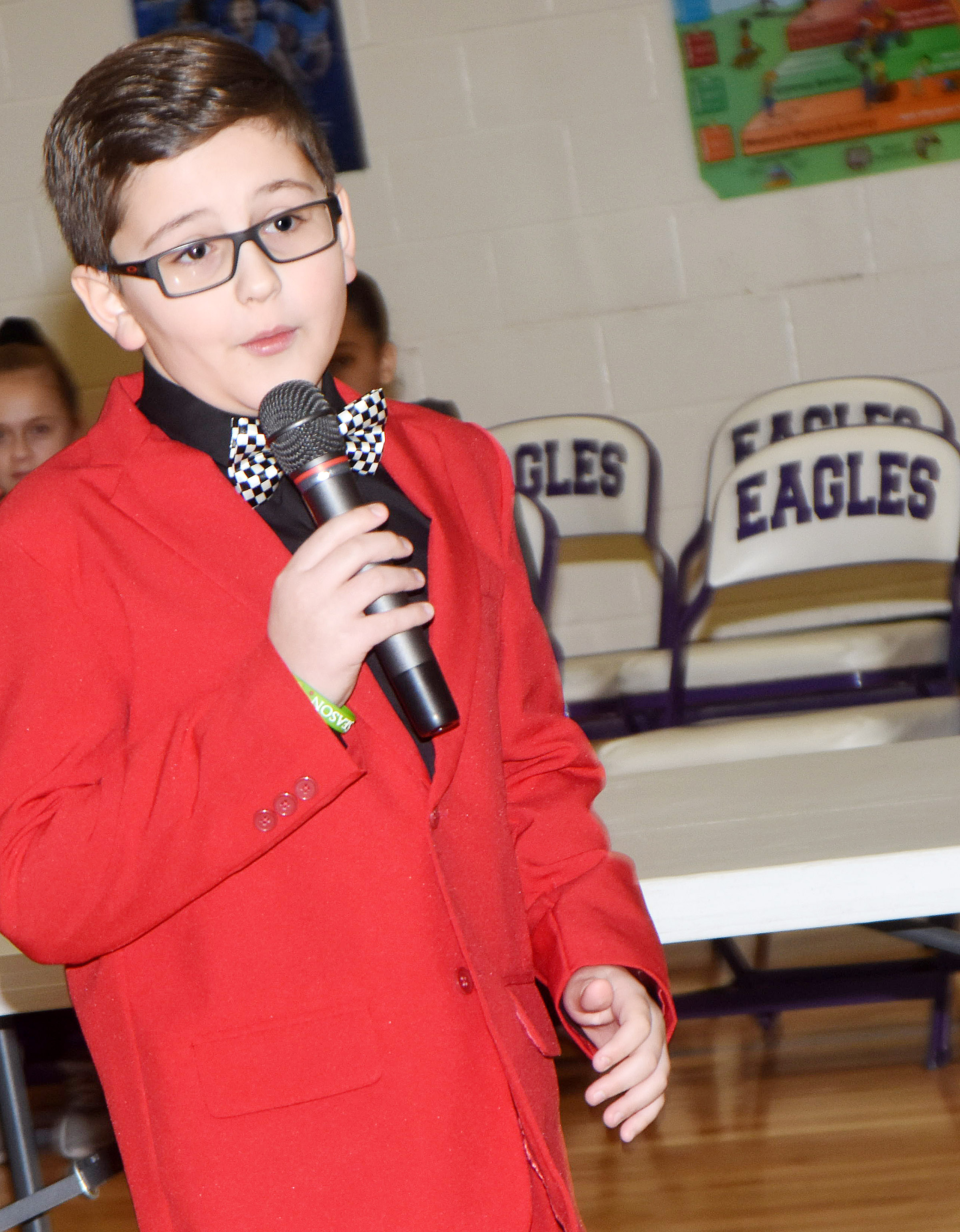 CES fourth-grader Tye Rhodes delivers his campaign speech during his school's assembly. Rhodes is a candidate for Kentucky Junior Beta vice president.