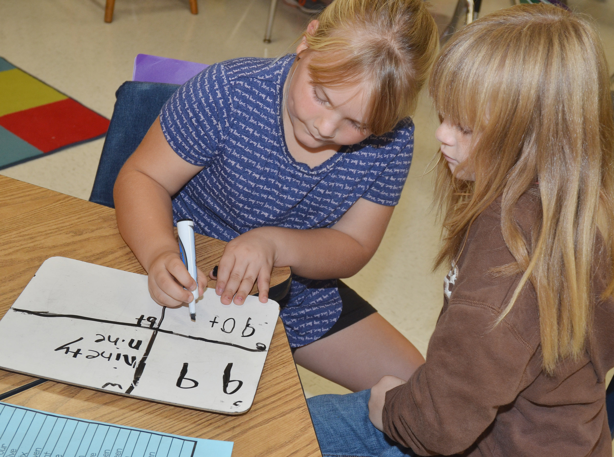 CES second-graders Addysen England, at left, and Summer Daniels practice writing numbers in expanded form.
