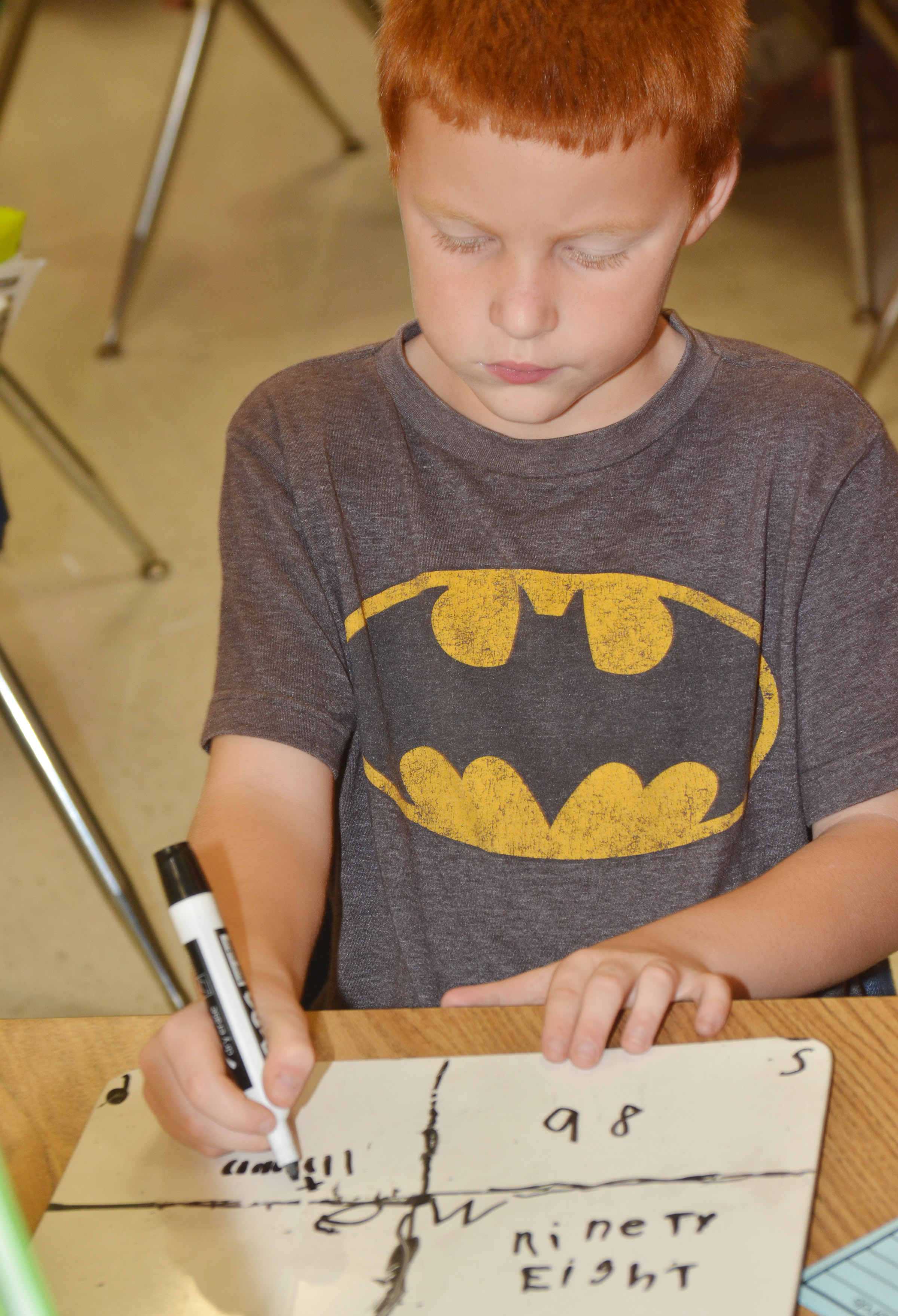 CES second-grader Carter Wethington practices writing base ten blocks.