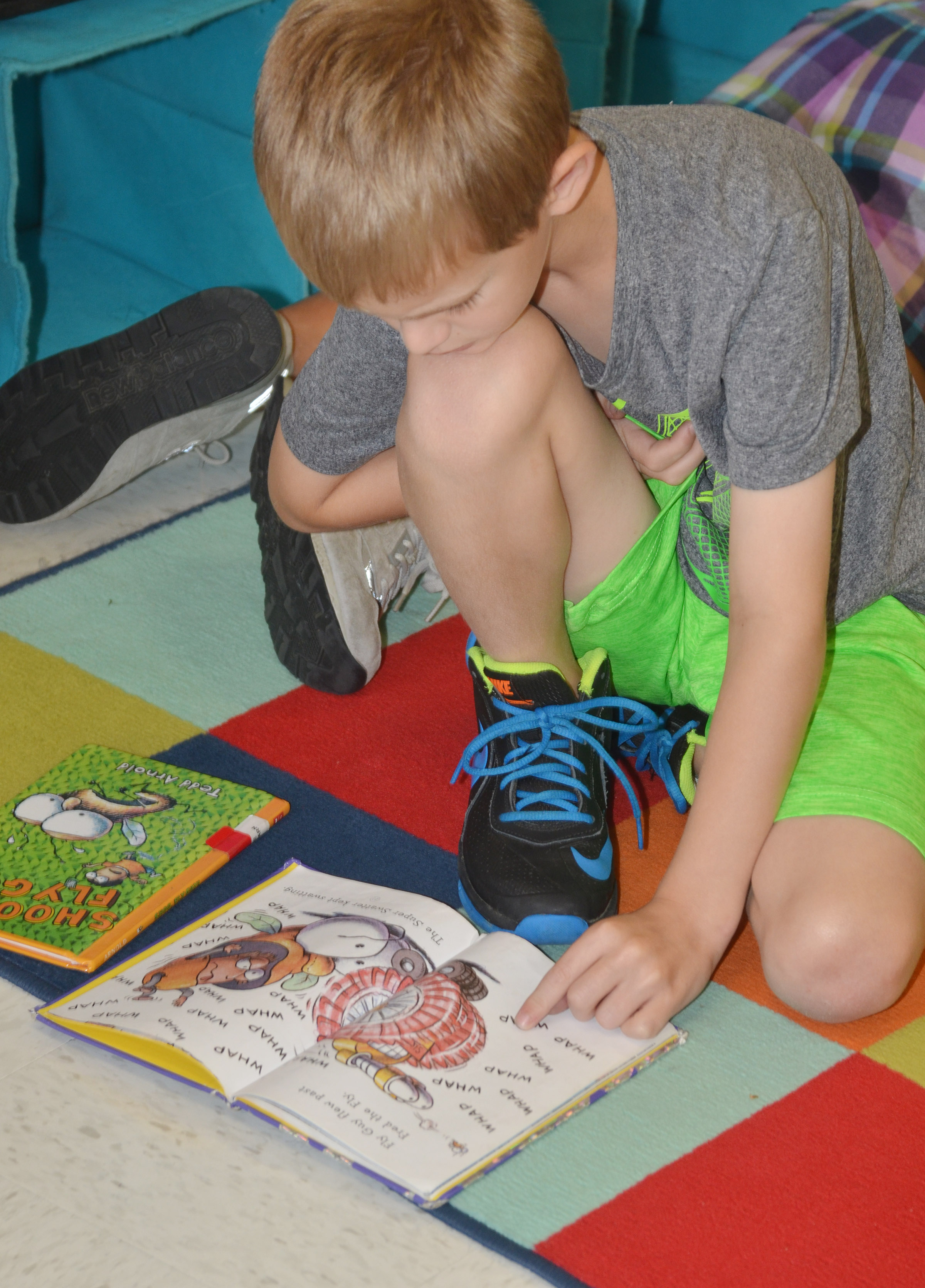 CES second-grader Logan Weddle reads.