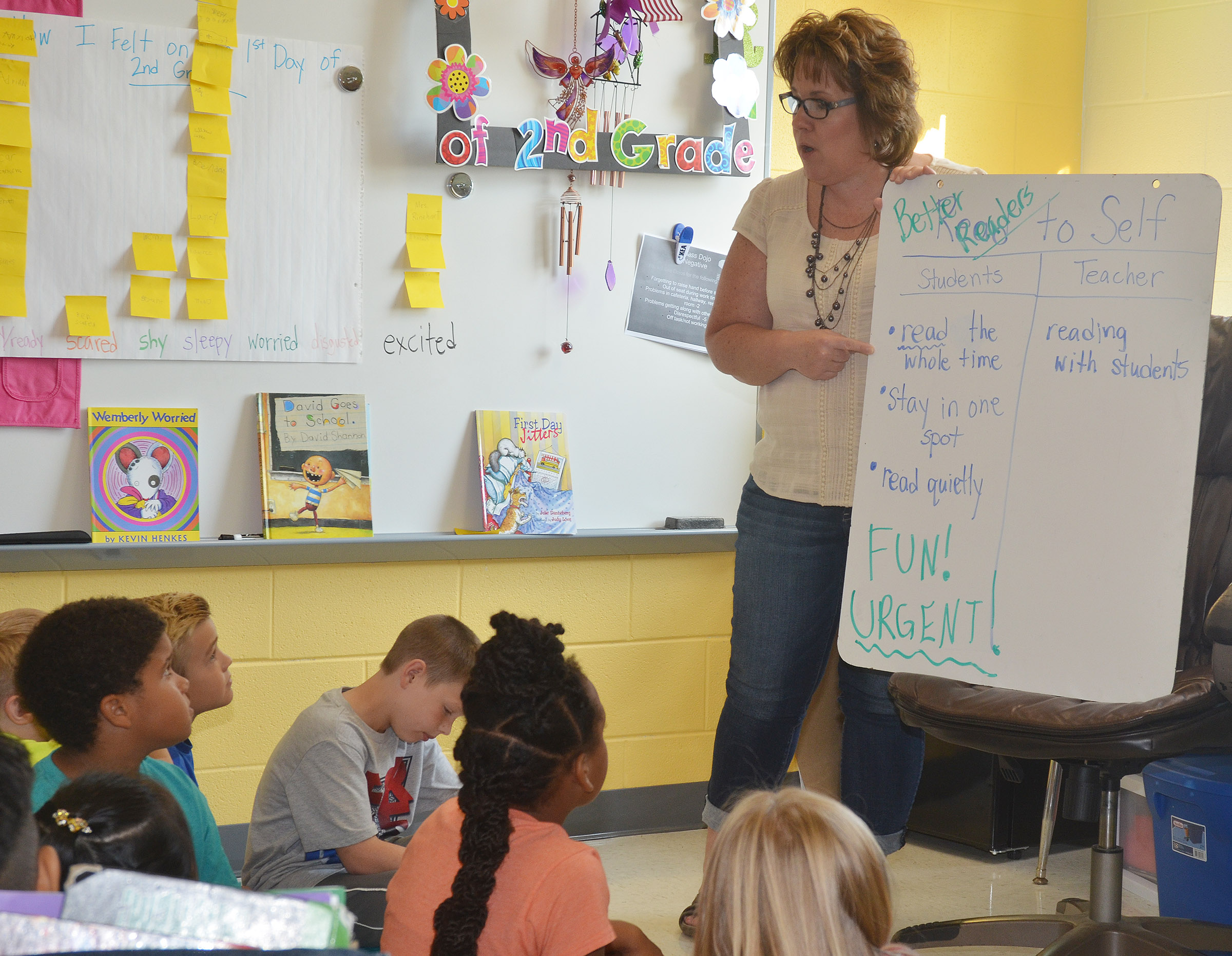 CES second-grade teacher Tracey Rinehart talks to her students about the proper way to read a book.