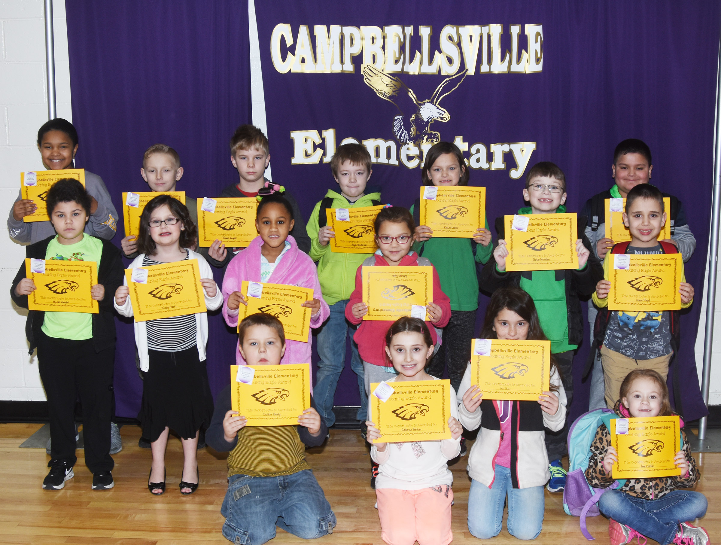 From left, front, are kindergartener Coulter Brady, third-graders Cadence Burton and Ava Taylor and first-grader Ava Caffee. Second row, first-graders NyJah Vaught and Trinity Clark, second-grader Kadance Ford, kindergartener Addisyn Taylor and second-grader Aaron Floyd. Back, fifth-graders Jaclyn Jackson, Austin Gabbert and Thomas Tungate, third-graders Alijah Henderson and KayLee Lamer, first-grader Parker Newton and second-grader Alex Mixtega. Absent from the photo are kindergarteners Brayden Carmicle and Lukas Adams, first-grader Aliyah Litsey, second-graders Gracie Murphy and Owen Skaggs, third-grader Anna Keith and fifth-grader Ethan Cox.