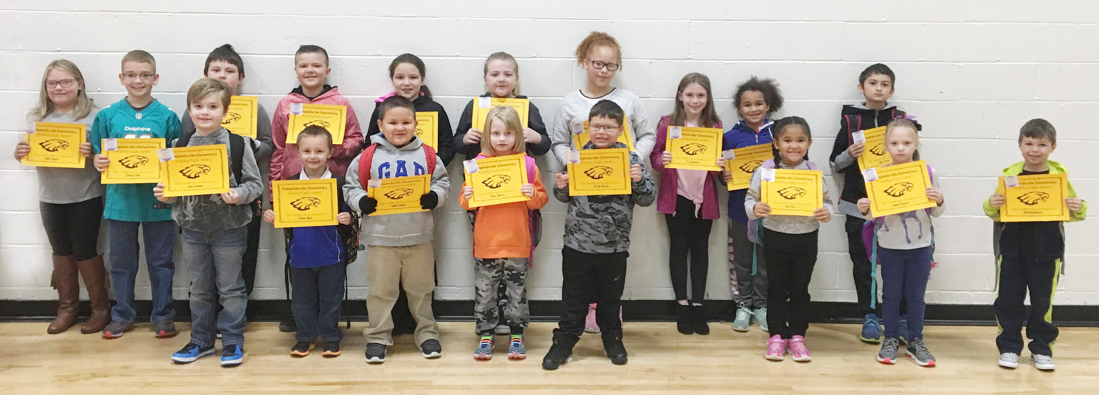 From left, front, are second-grader Gavin Williams, first-grader Carter Ward, kindergarteners Daniel Devers and Emma Johnson, second-grader Tristan Burton, kindergartener Paris Washington-Hall and first-graders Amary Tompkins and Bentley Wilhoite. Back, third-grader Addysen England, fifth-grader Cameron Estes, third-grader Fabrizio Segura, fourth-graders Cayton Lawhorn and Keely Rakes, third-grader London Whitlow, fourth-grader Kallie Taylor, third-grader Izzy Brunelle, kindergartener Mariah Travis and fifth-grader Jadyn Ortiz-Bruner. Absent from the photo are kindergartener Colton Lamer and fifth-graders Grayson Dooley, Aliyah Burton and Kealey Mann.