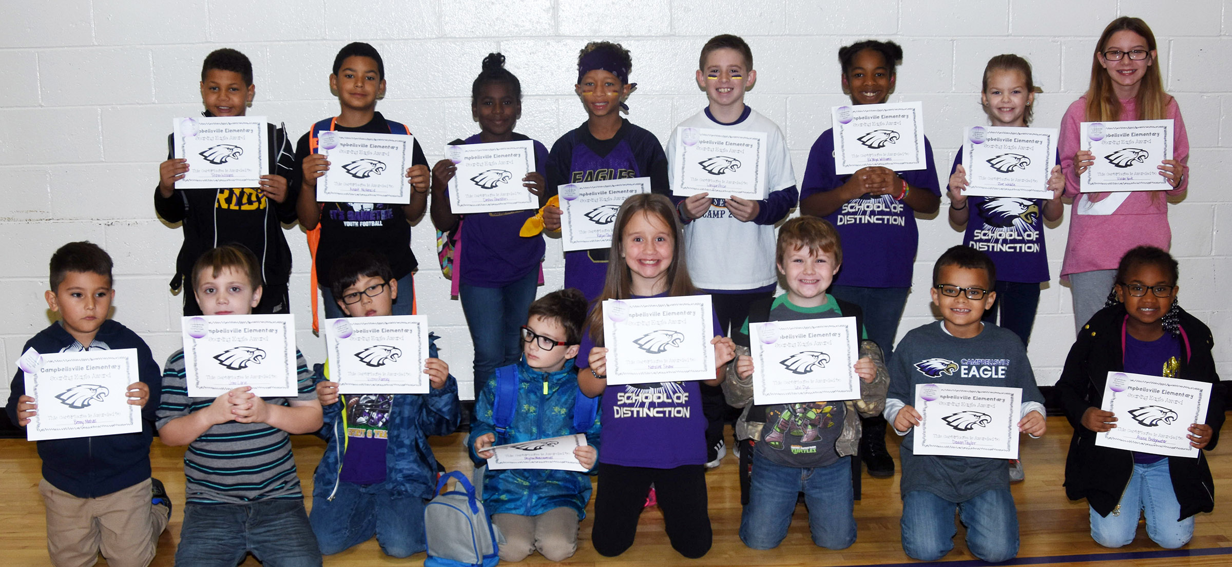From left, front, are kindergartener Benny Matias, second-grader John Lane, first-grader Victrin Ramsey, kindergartener Peyton Mascarenas, second-grader Natalee Shaw, first-grader Levi Dye, second-grader Davian Taylor and kindergartener Kyona Mitchell. Back, third-graders Tristen Williams, Rizzo McKenzie and Destini Gholston, fourth-graders Rajon Taylor and Lanigan Price, fifth-grader KaMiya Williams, second-grader Zoe Weddle and fifth-grader Vivian York. Absent from the photo are kindergarteners Jayla Barbee and Eddie Parsley, first-graders Alaina Bridgewater and Jamerius Miller and fifth-grader Eva Bledsoe.