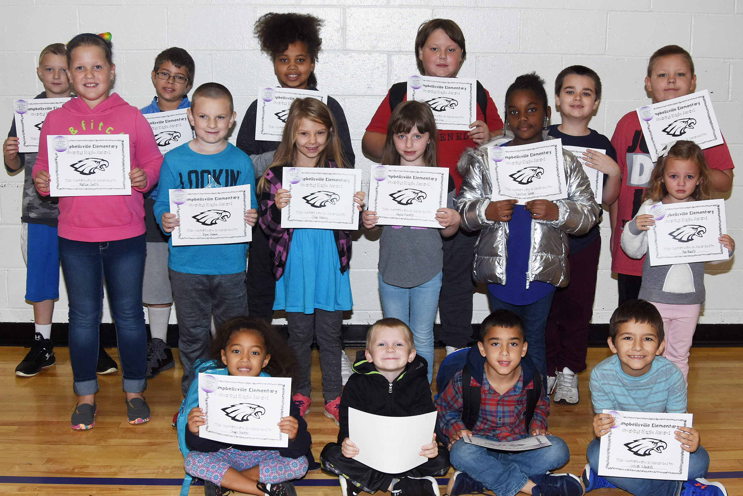 From left, front, are kindergartener Onyx Hunter, first-graders Carsen Montgomery and Cameron Carchio and second-grader Josiah Edwards. Second row, fourth-grader Madison Smith, second-grader Ryne Gumm, third-grader Chloe Harvey, first-grader Kaylee Franklin, second-grader Destinee Henry-Turner and kindergartener Ava Muncie. Back, fourth-grader Camren Skaggs, fifth-grader Stanley Napper, third-grader Journey Webb, fifth-grader Jace Cox, third-grader Sawyer Lange and fourth-grader Peyton Mitchell. Absent from the photo are kindergartener Emma Spalding and third-grader Keiava Thompson.