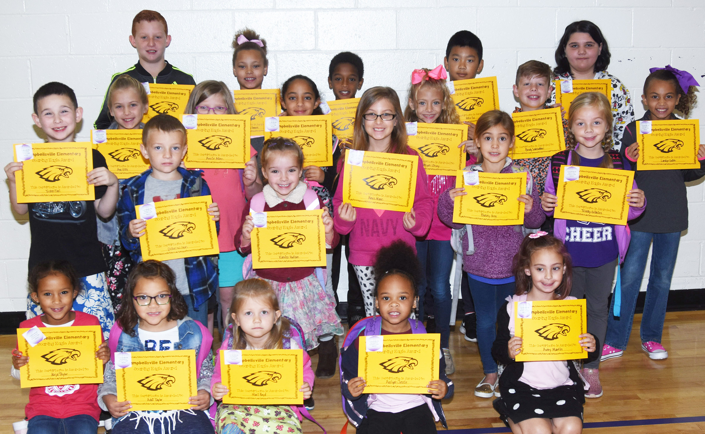 From left, front, are second-grader Aleja Taylor, first-grader Addisyn Taylor and kindergarteners Maci Boyd, Aaliyah Jessie and Avery Martin. Second row, second-grader Tristan Teel, first-grader Alex Wilson, kindergartener Katniss Hudson, third-grader Alexis Mann, kindergartener Blakely Gray and first-grader Trinidy Gribbins. Third row, fourth-grader Ava Ellis, first-grader Annie Allen, third-grader Essence Hunter, second-grader Aliyah Litsey and third-graders Brody Sidebottom and Londyn Smith. Back, fourth-grader Reece Swafford and fifth-graders Alexis Graves, Tionday Slaughter, Alfie Su and Kailei Hernandez.