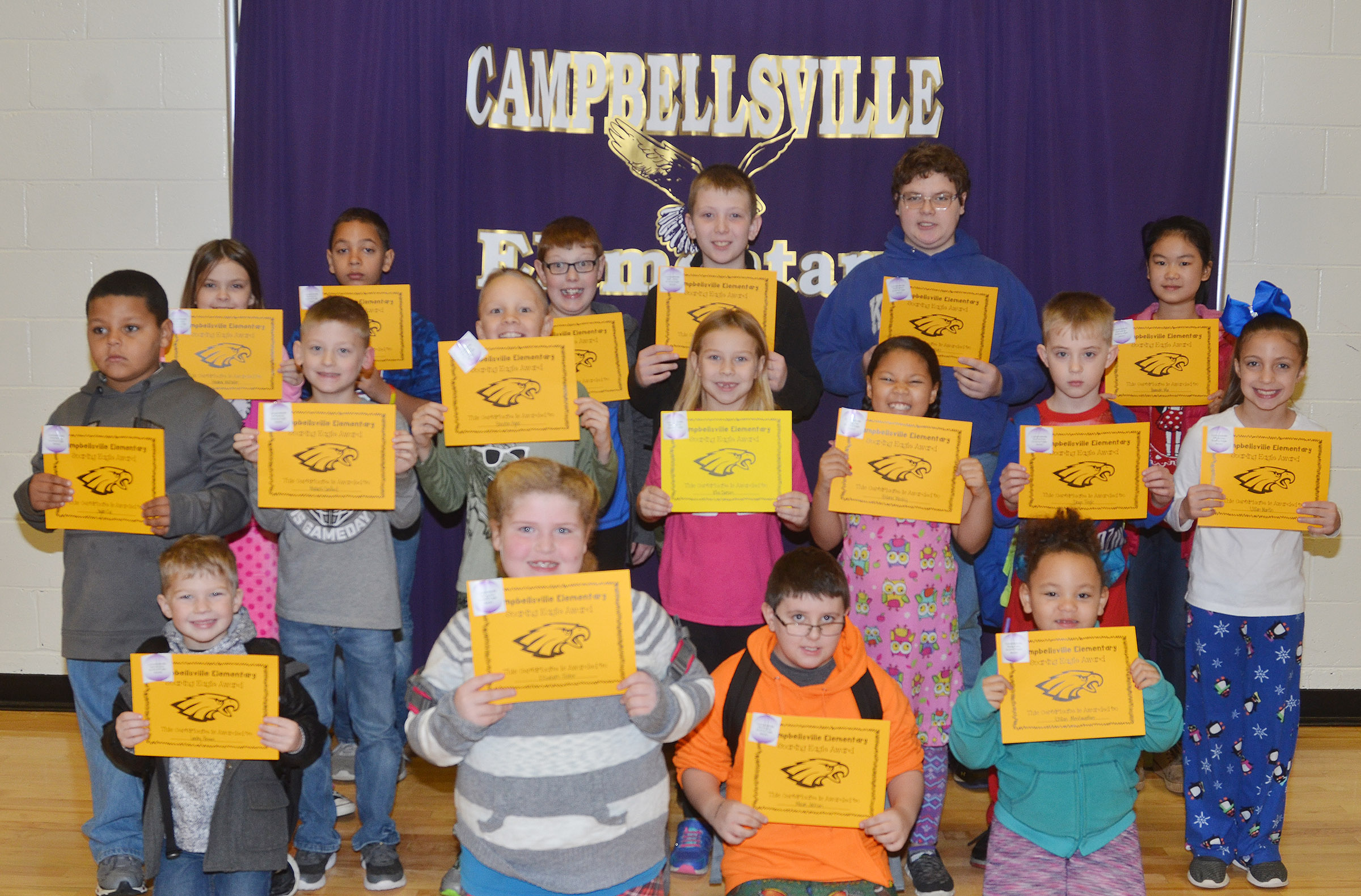 From left, front, are kindergartener Landry Brown, second-grader Elizabeth Foster, third-grader Mason Jackson and kindergartener Lillian Merriweather. Second row, kindergartener Jayden Cox, third-graders Malachi Sanford and Braxton Agee, first-grader Kira Dotson, second-grader Briana Wooley, third-grader Devyn Tingle and second-grader Lillian Martin. Back, fifth-graders Havana Whitaker and Aiden Eastridge, fourth-grader Aidan Phillips, fifth-graders Kaleb Miller and Ian Creason and fourth-grader Hannah Ma. Absent from the photo are kindergartener Macilynn Mann, first-grader Nevaeh Shofner, second-grader Amylah Taylor and fourth-grader Keaton Hord.