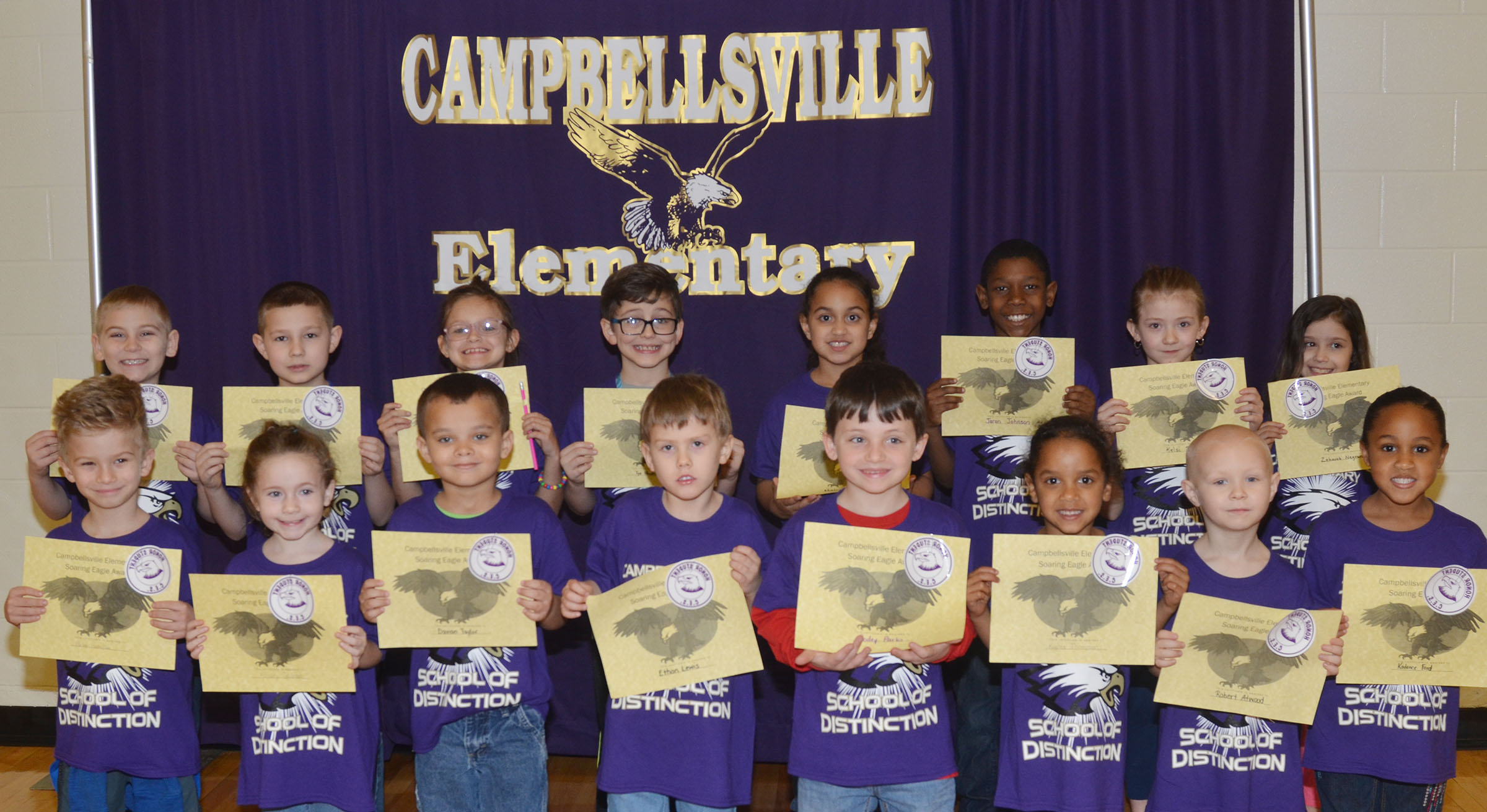 From left, front, are first-grader Parker Hamilton, first-grader Kinsley Graham, kindergarteners Davian Taylor and Ethan Lewis, second-grader Codey Parks, kindergarteners Kaylee Thompson and Robert Atwood and first-grader Kadence Ford. Back, second-grader Joseph Greer, third-grader Grayson Dooley, second-graders Kaylee Lamer and Tye Rhodes, first-grader Maleigha Travis and third-graders Jaron Johnson, Kelsi Schuck and Zahavah Negron.