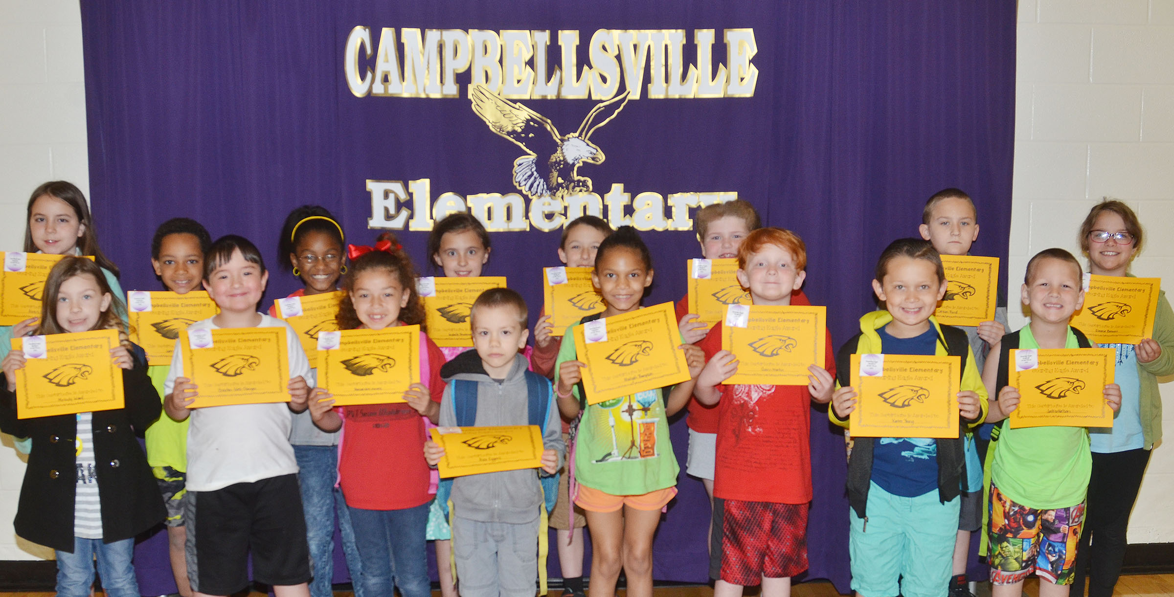 From left, front, are kindergartener Melody Ward, first-graders Braxton Giles-Osinger and Ammarissa Nunez, kindergartener Alex Eggers, second-graders Malia Thompson and Gavin Martin and kindergarteners Karter Young and Justice Nelson. Back, third-graders Alexis Roddy, Jalen Embry and Maliyah Harris, second-grader Annabelle Brockman, first-graders Aiden Forrest and Elizabeth Foster, second-grader Carson Ford and third-grader Eleana Brewer. Absent from the photo is first-grader Bree Farmer.