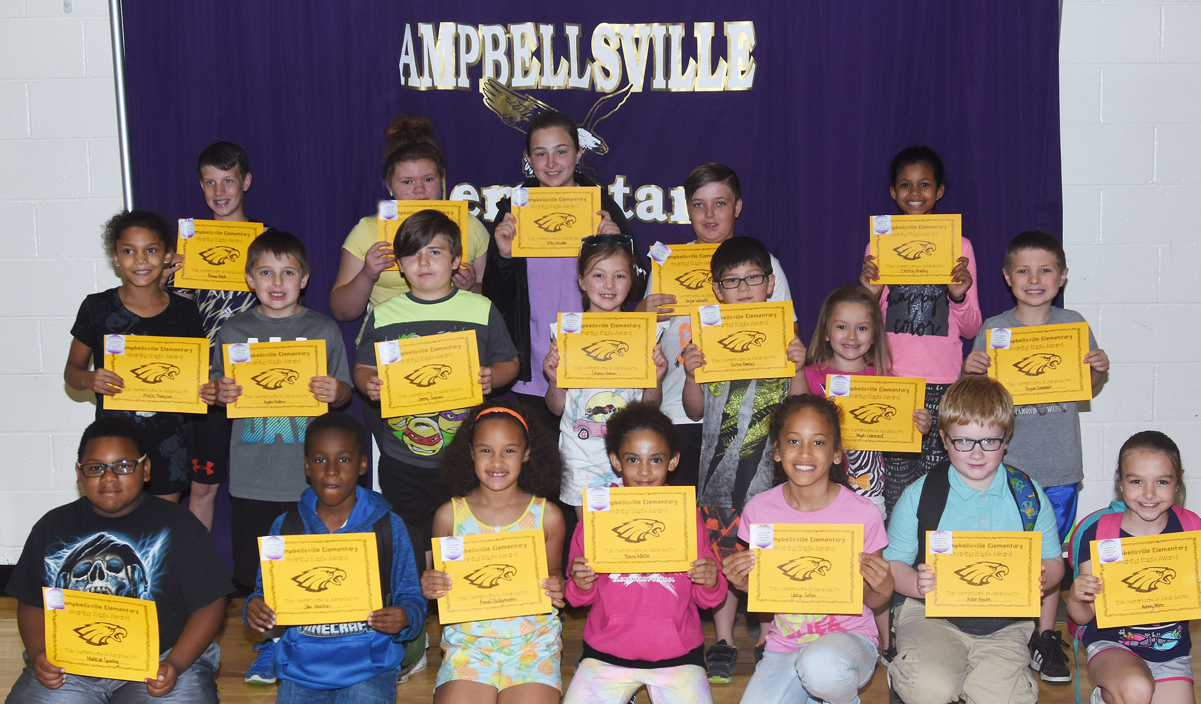 From left, front, are fourth-graders Malikiah Spurling and John Gholston, second-graders Amani Bridgewater and Tierra White, third-graders Yazlyn Sutton and Aidan Bowles and first-grader Aubrey Allen. Second row, third-grader Malia Thompson, first-graders Ayden Andrew, Jeremy Gagnon, Delaney Staton and Victrin Ramsey; kindergartener Myah Learmond and second-grader Bryson Gabehart. Back, fifth-graders Rowan Petett, Carmen Gurley, Riley Newton, Skylar Wilhoite and Destiny Bradley. Absent from the photo is third-grader Kendall Cruz.